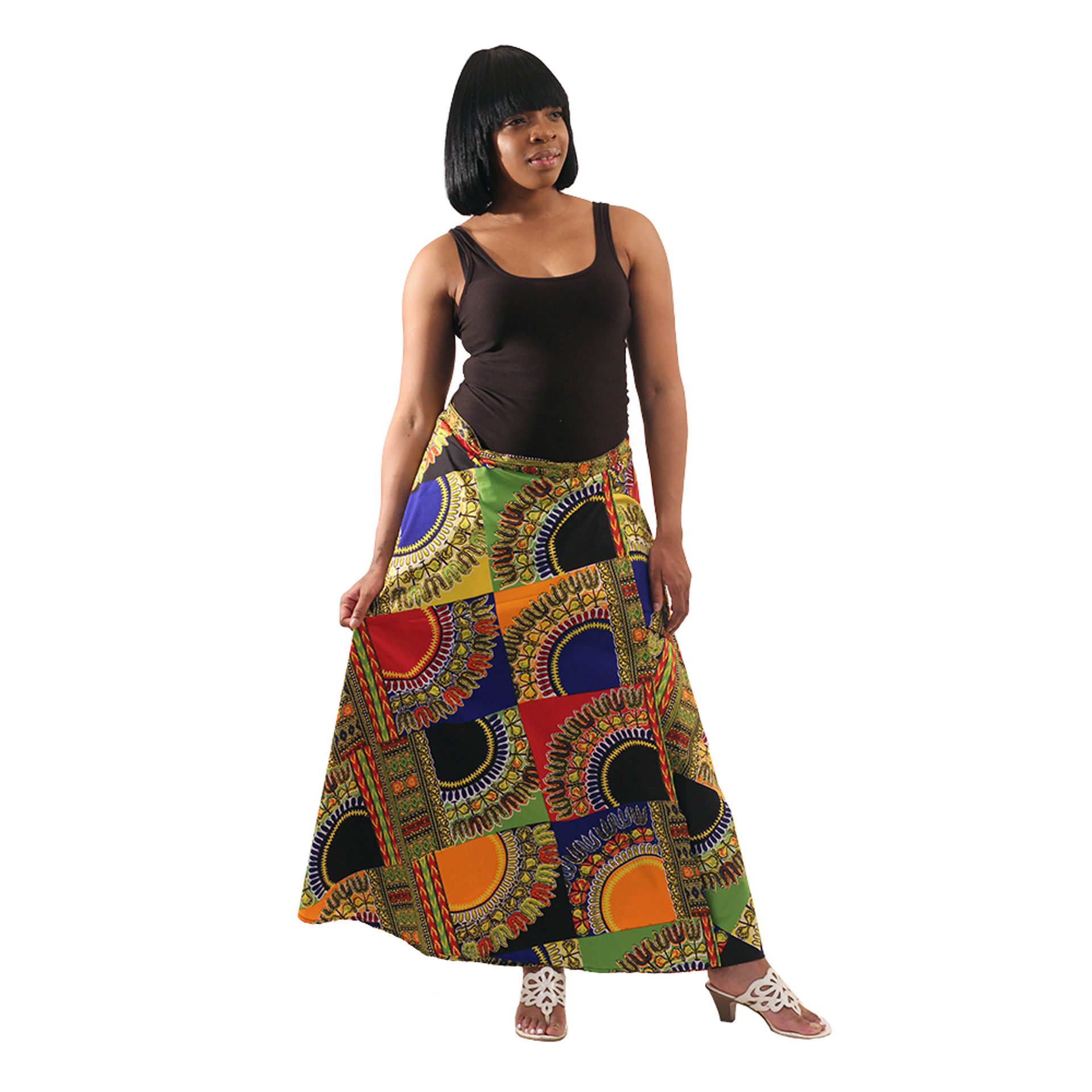 Picture of Trad Patch Print Wrap Skirt