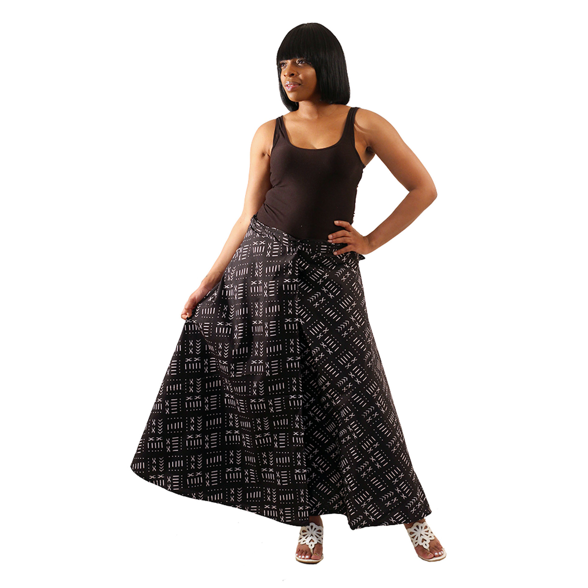 Picture of Black Mud Print Wrap Skirt