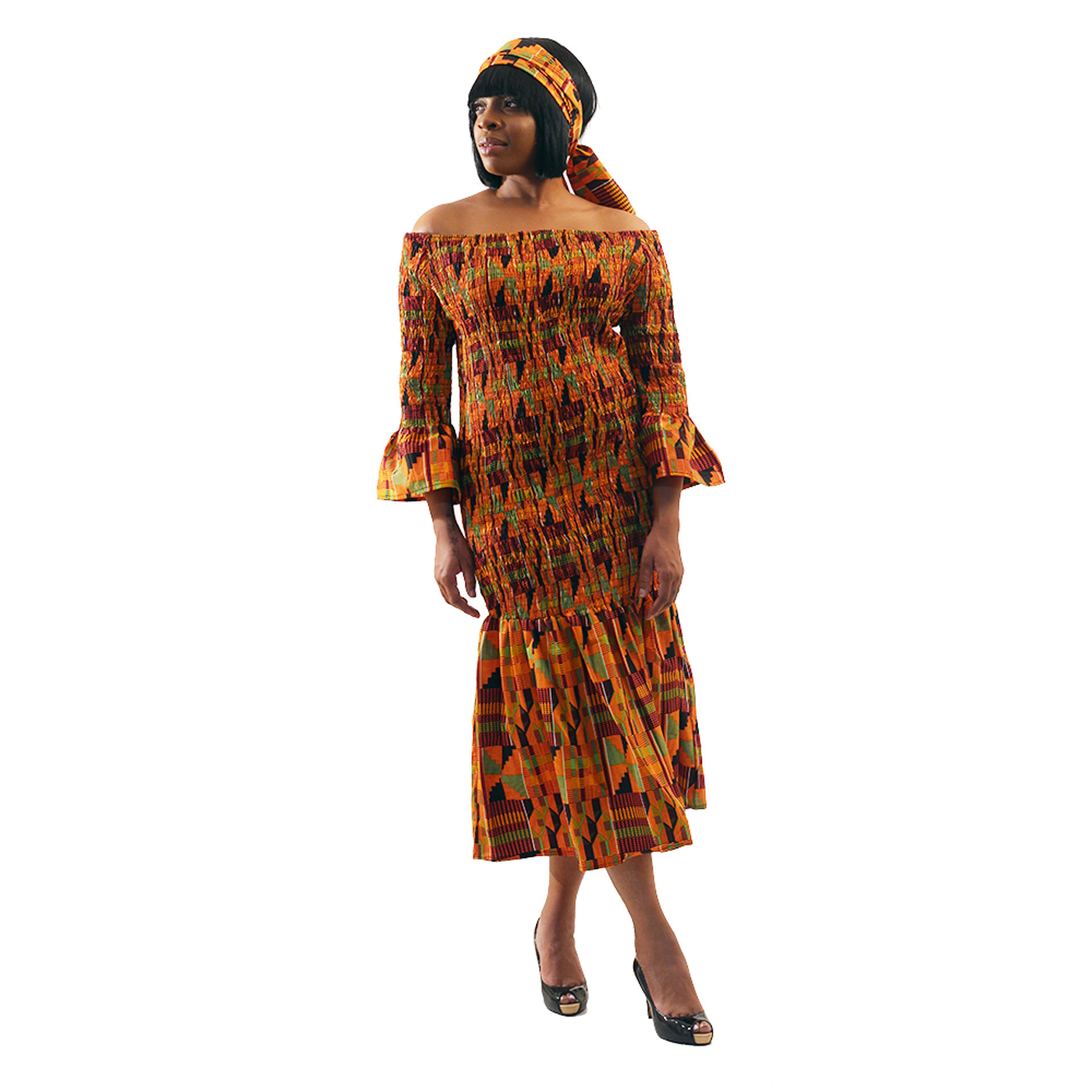 Picture of Kente #2 Elastic Bobbin Dress
