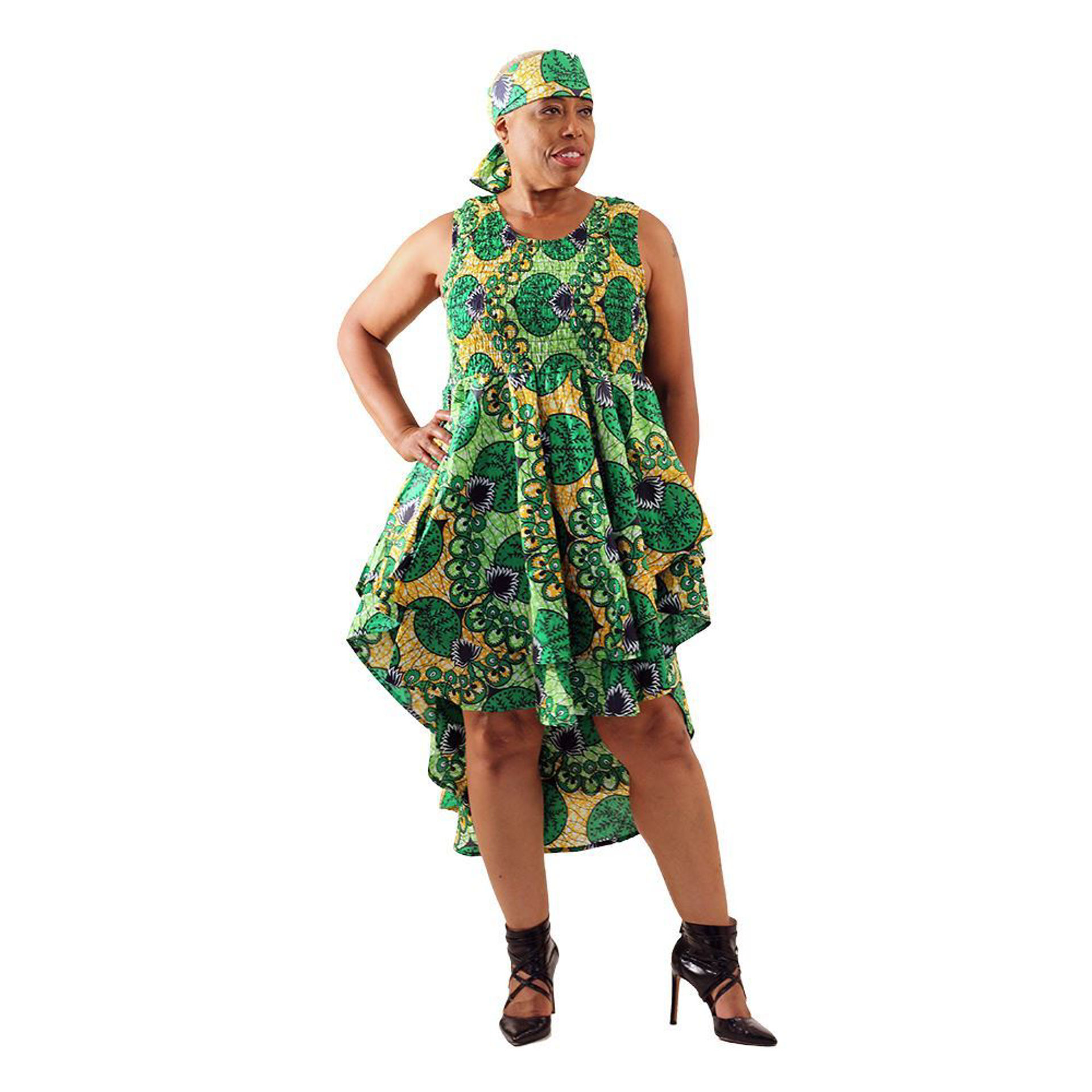 Picture of Green African Print Hi-Lo Dress