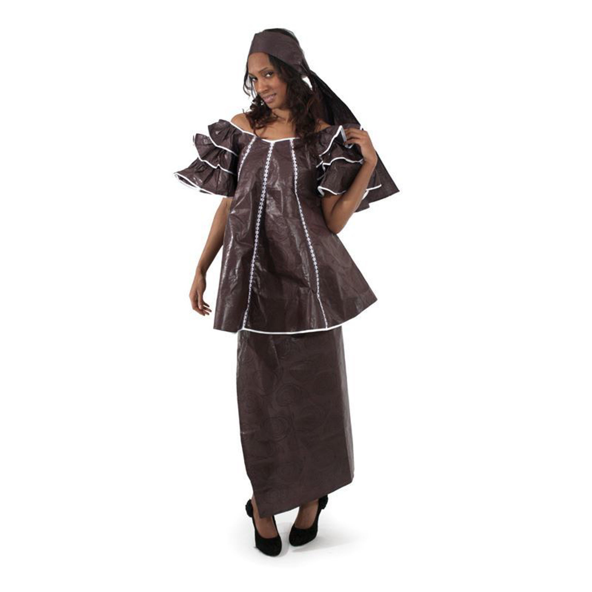 Picture of Dark Brown Brocade Pleated Skirt Set