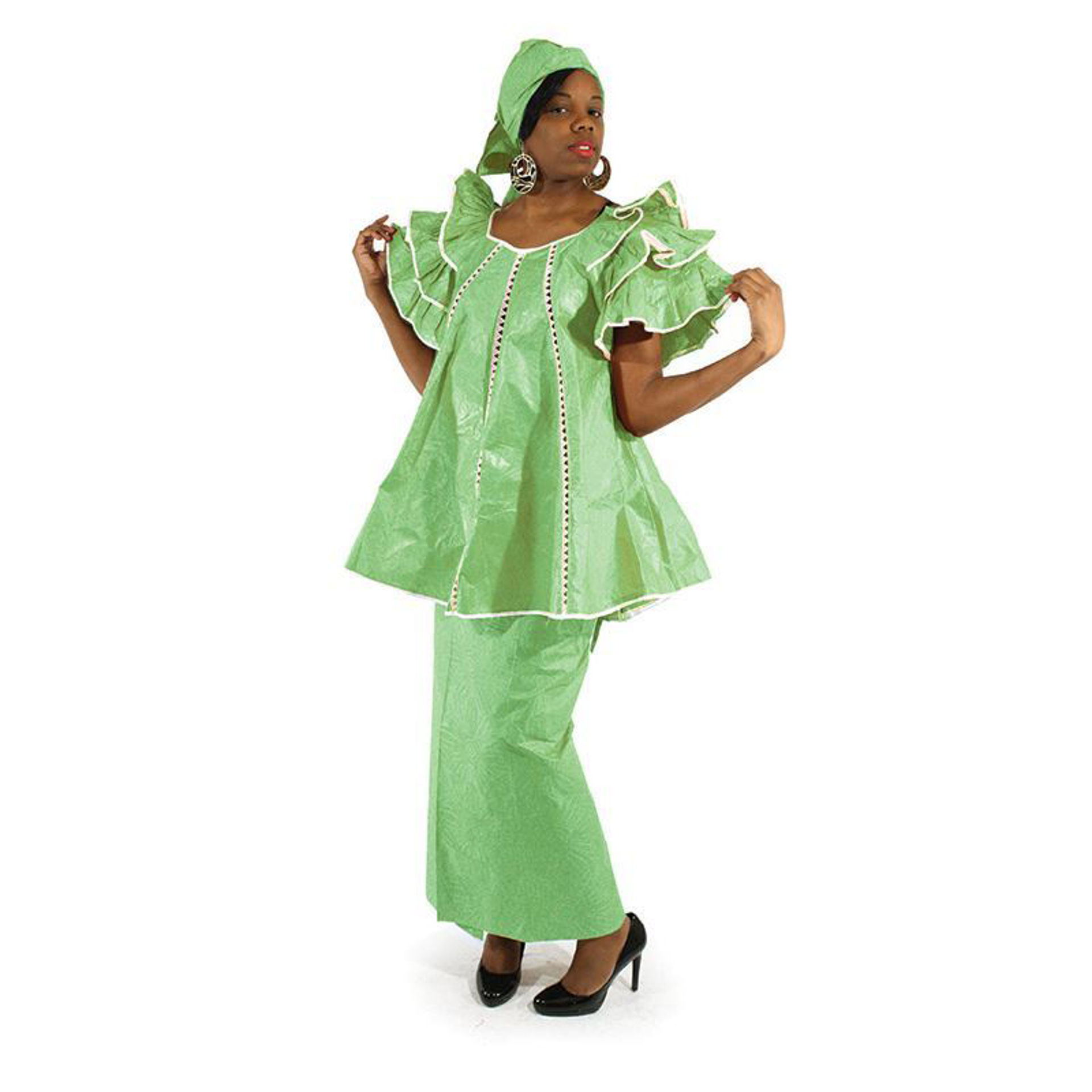 Picture of Lime Brocade Pleated Skirt Set