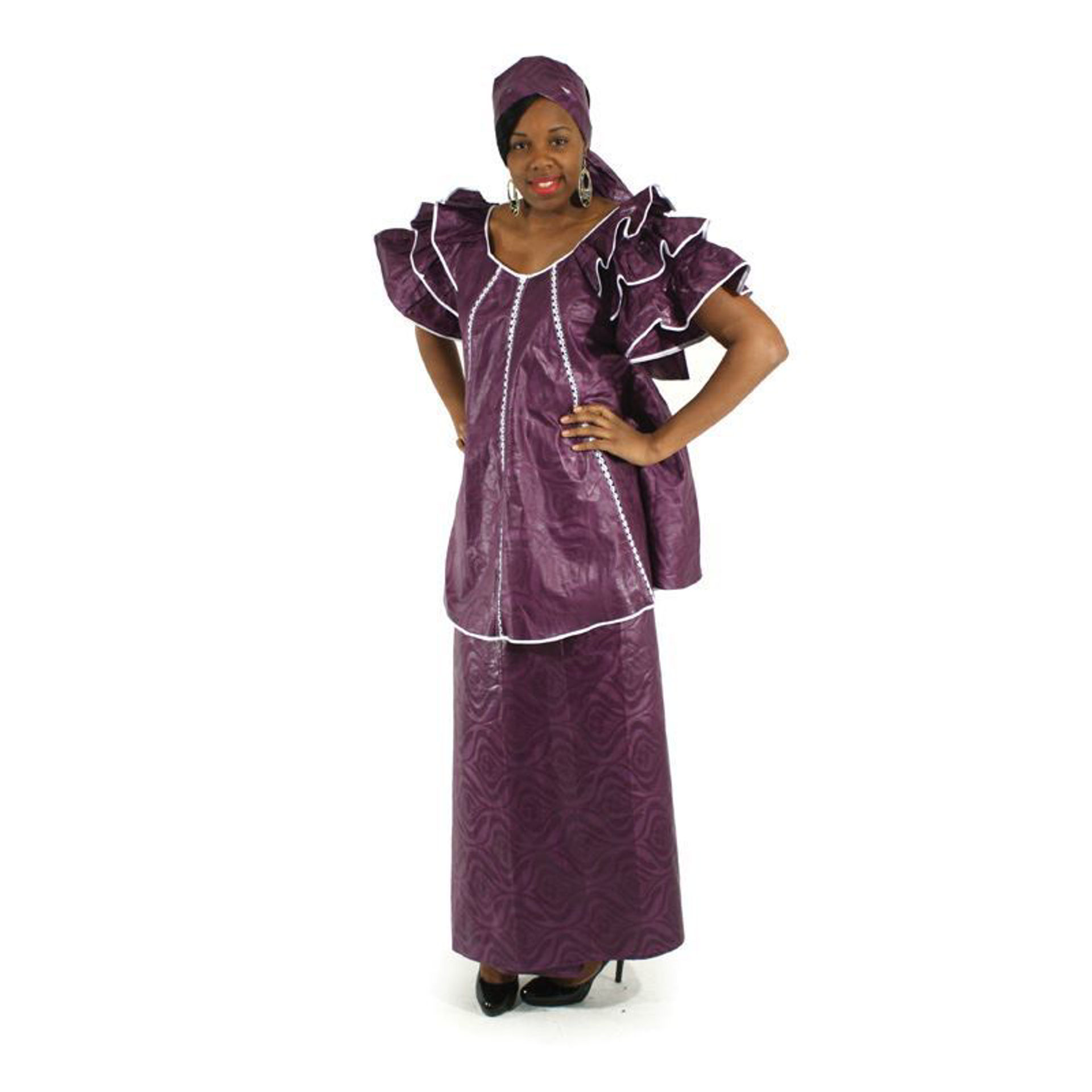 Picture of Plum Brocade Pleated Skirt Set