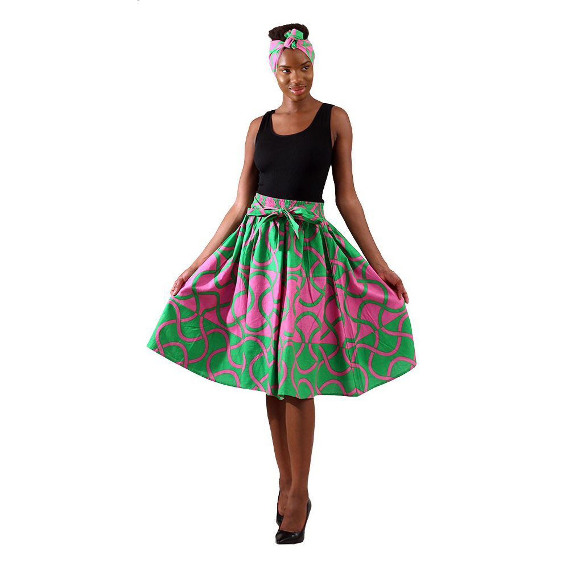 Picture of Green & Pink African Print Elastic Skirt