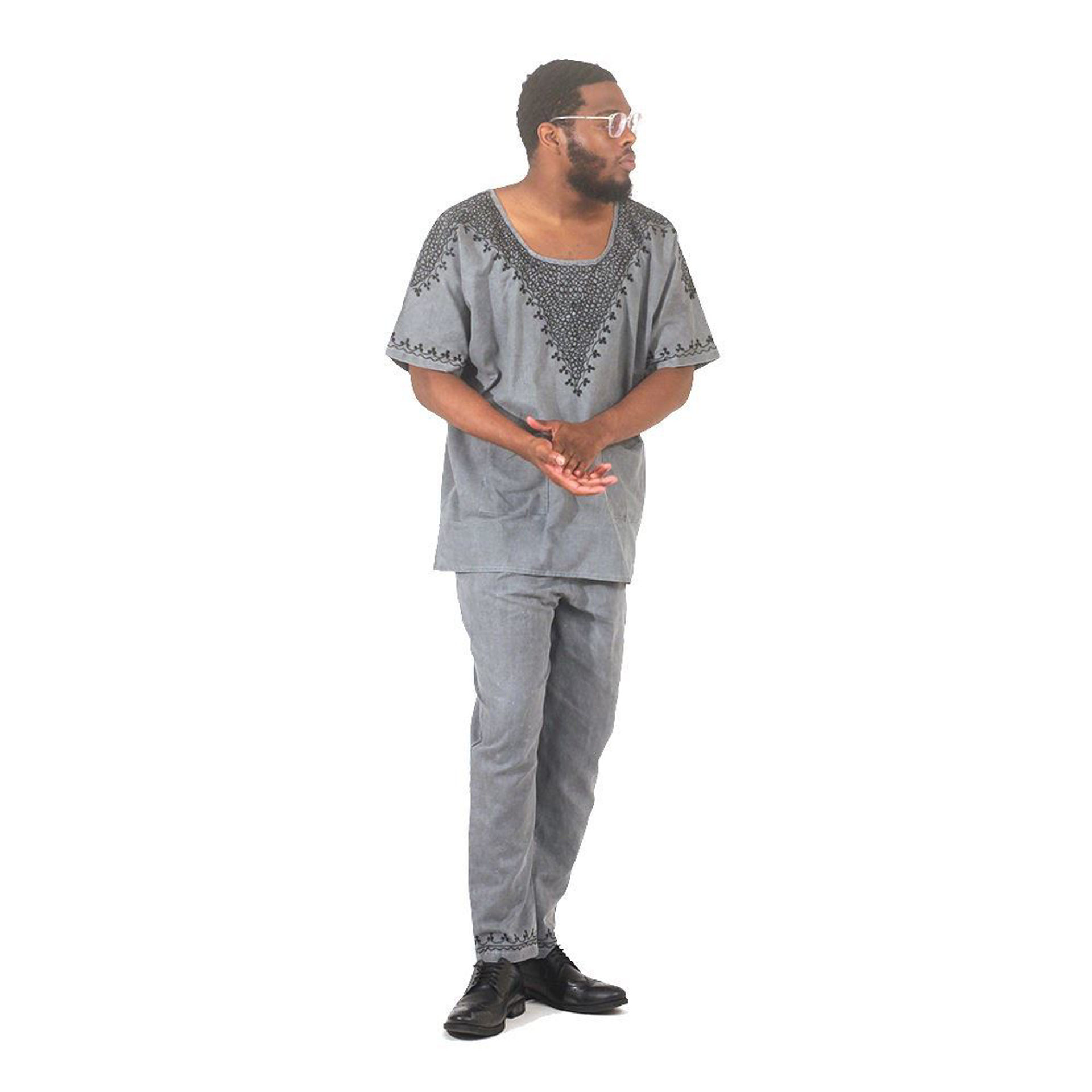 Picture of Gray & Black Embroidered Pant Set