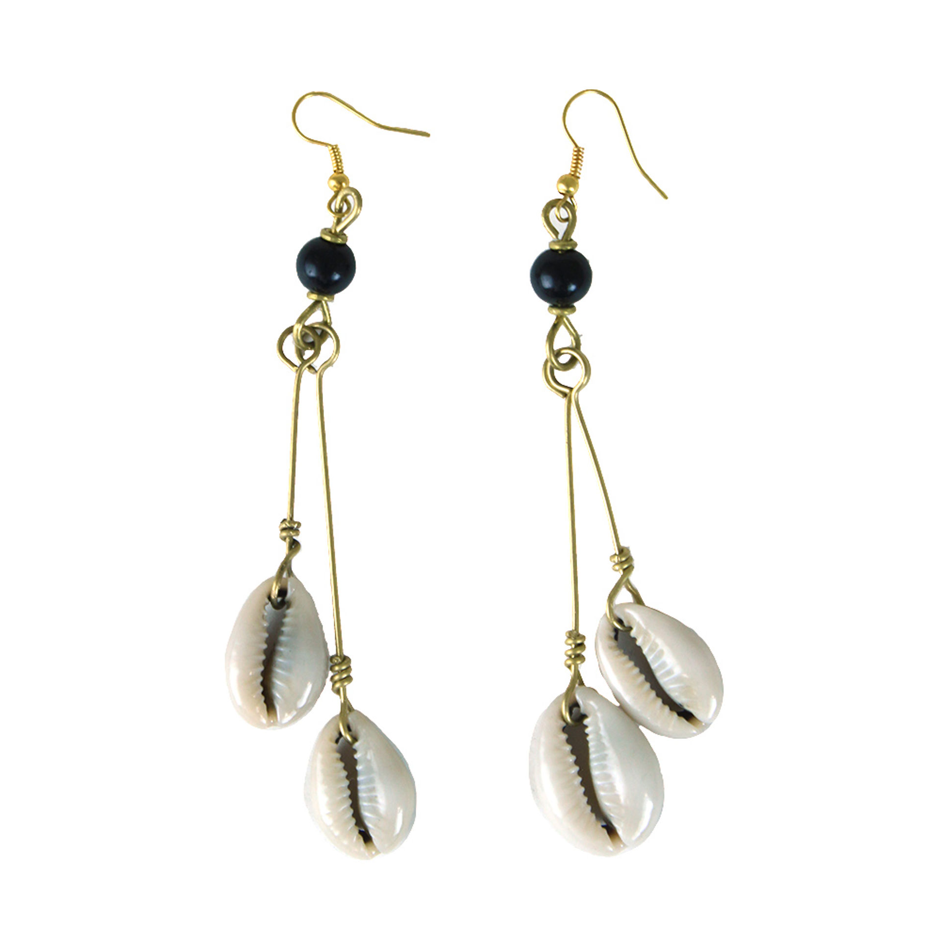 Picture of Double Cowrie Brass Dangle Earrings