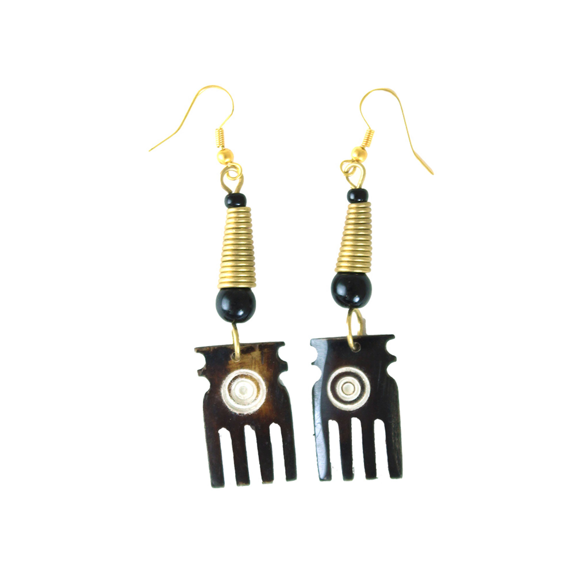Picture of Brown Bone Comb Earrings