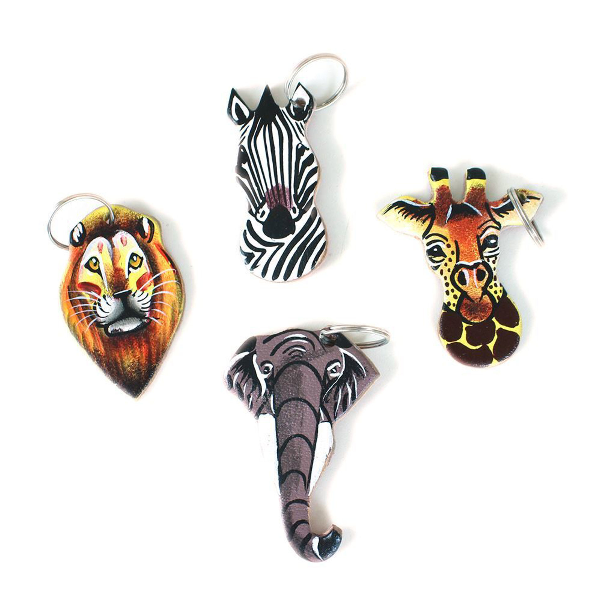 Picture of Leather Safari Animal Key Chain ASSORTED