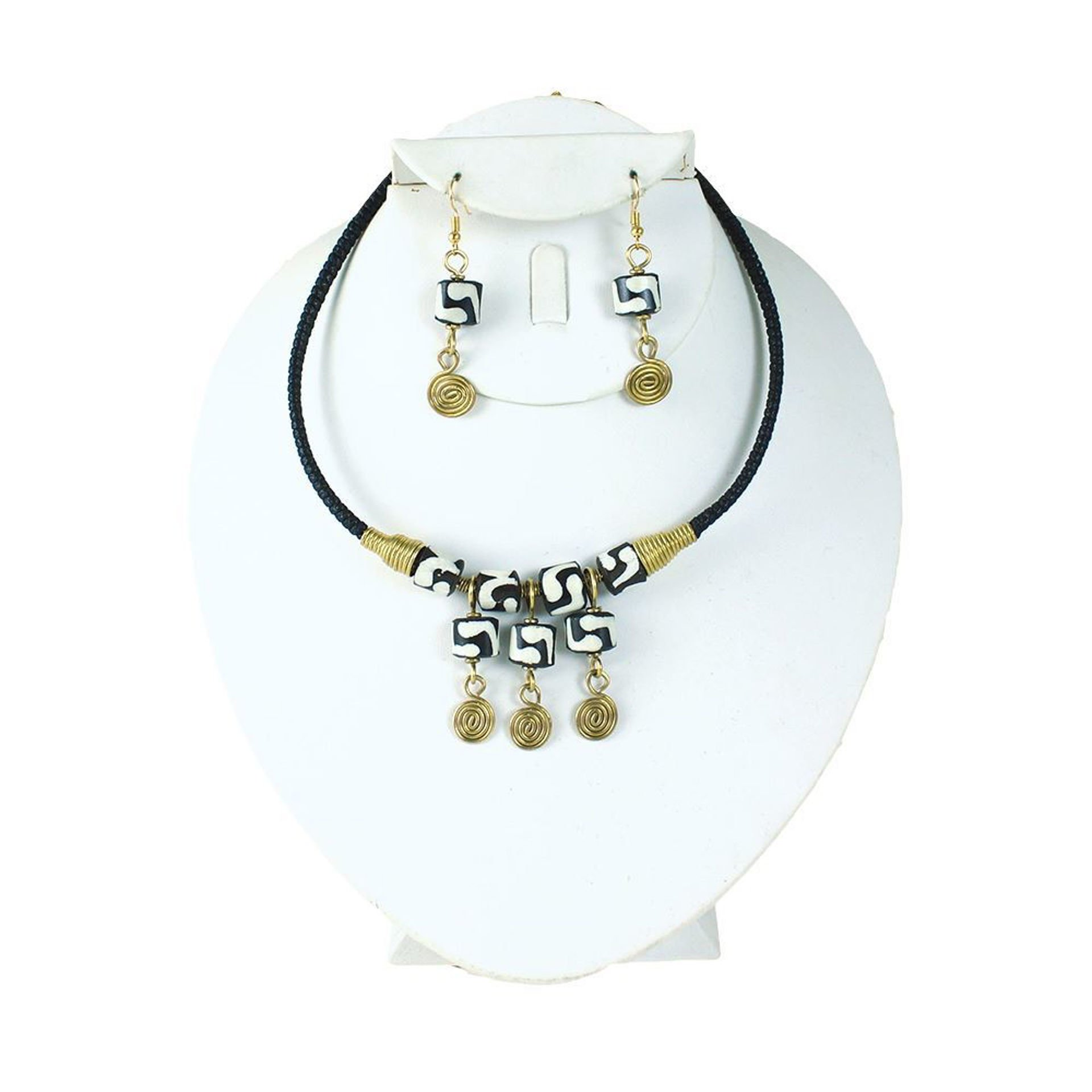 Picture of Leather-Bone-Brass Choker & Earrings Set