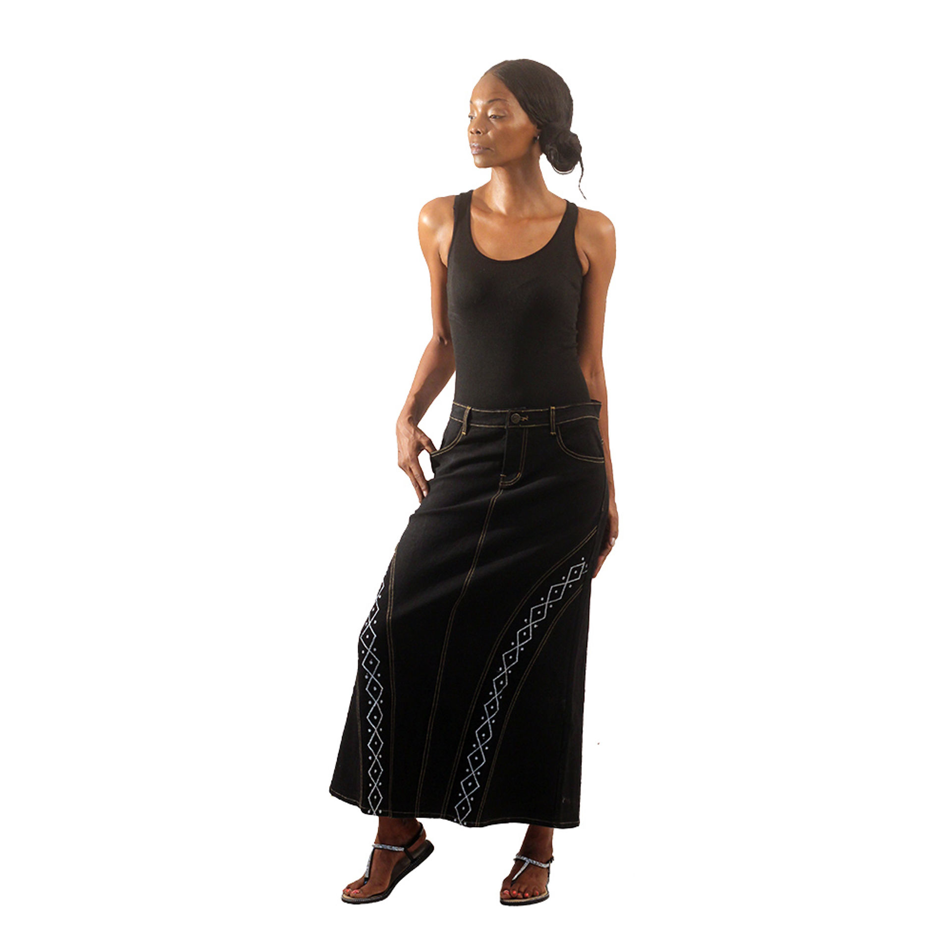 Picture of Black Denim Long Skirt