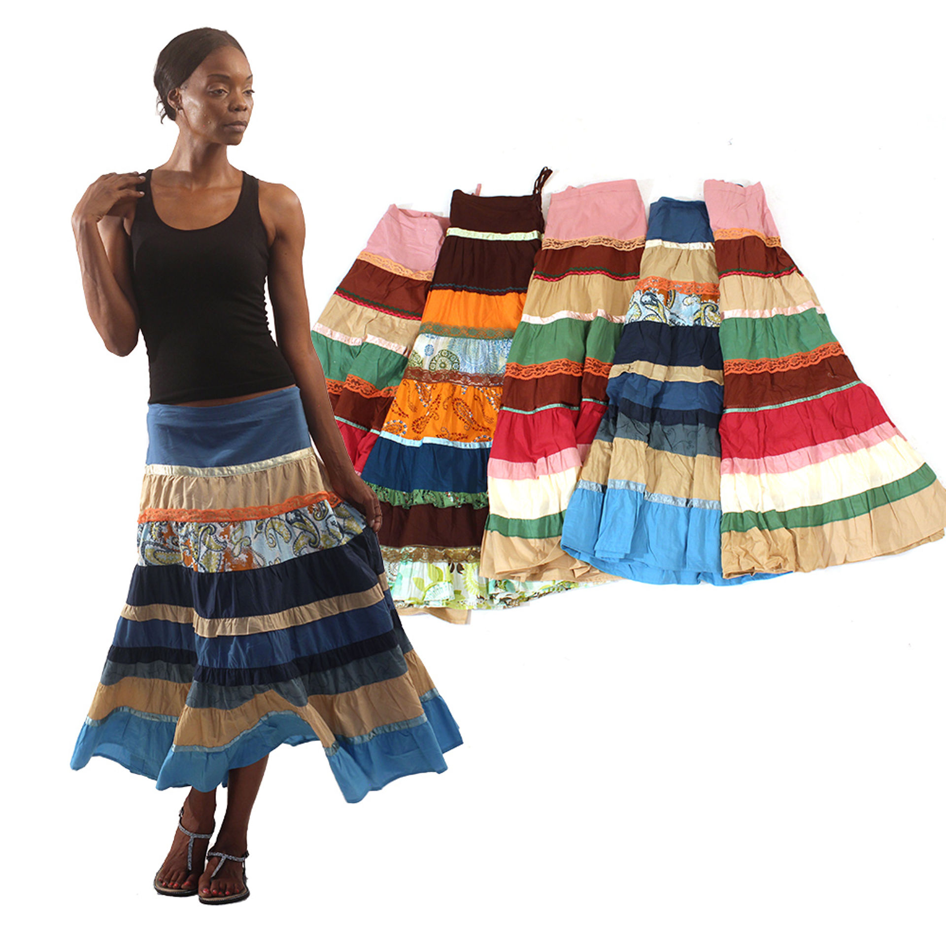 Picture of Set Of 6 Patchwork Skirts - ASSORTED