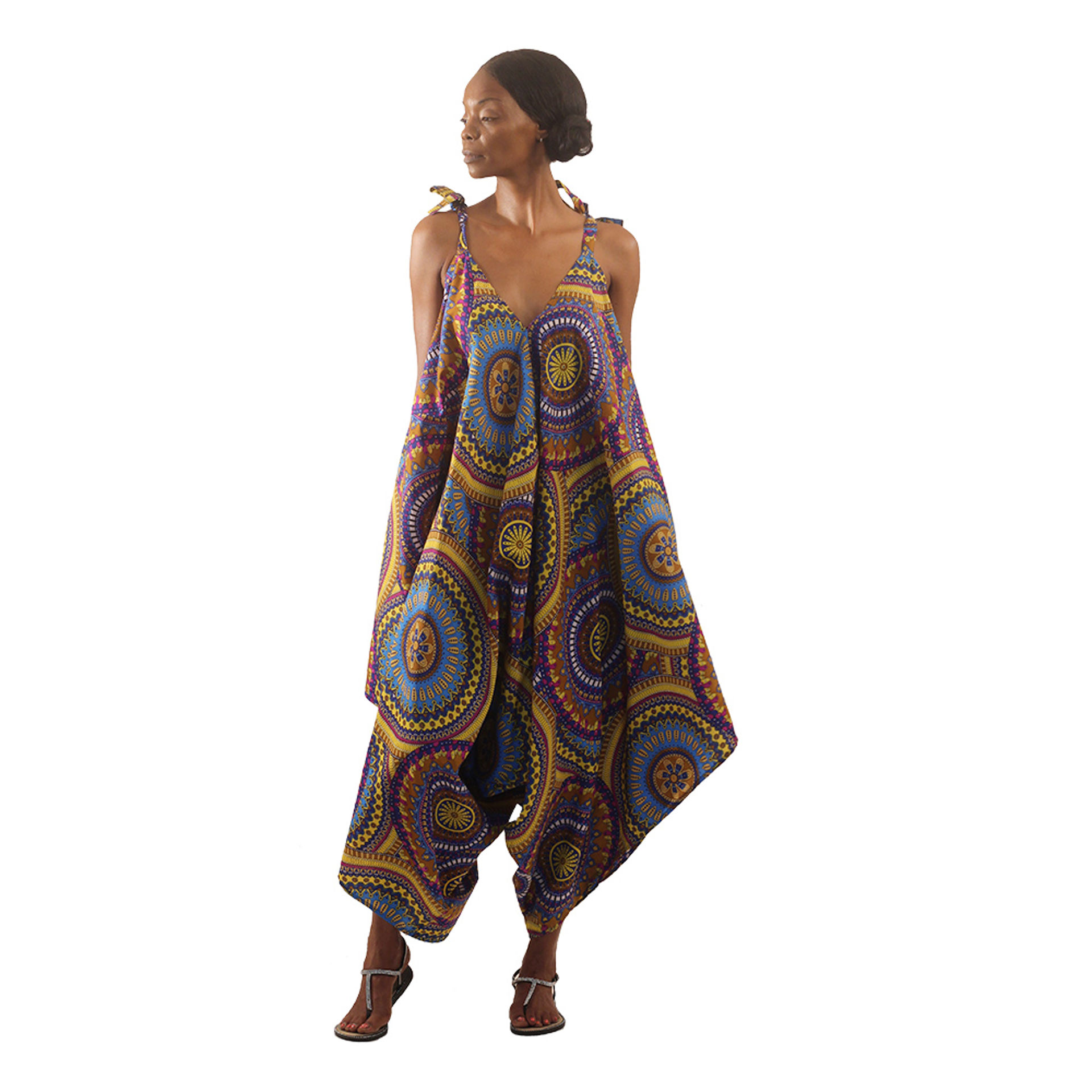 Picture of Floral Mandala Jumpsuit: Yellow/Blue