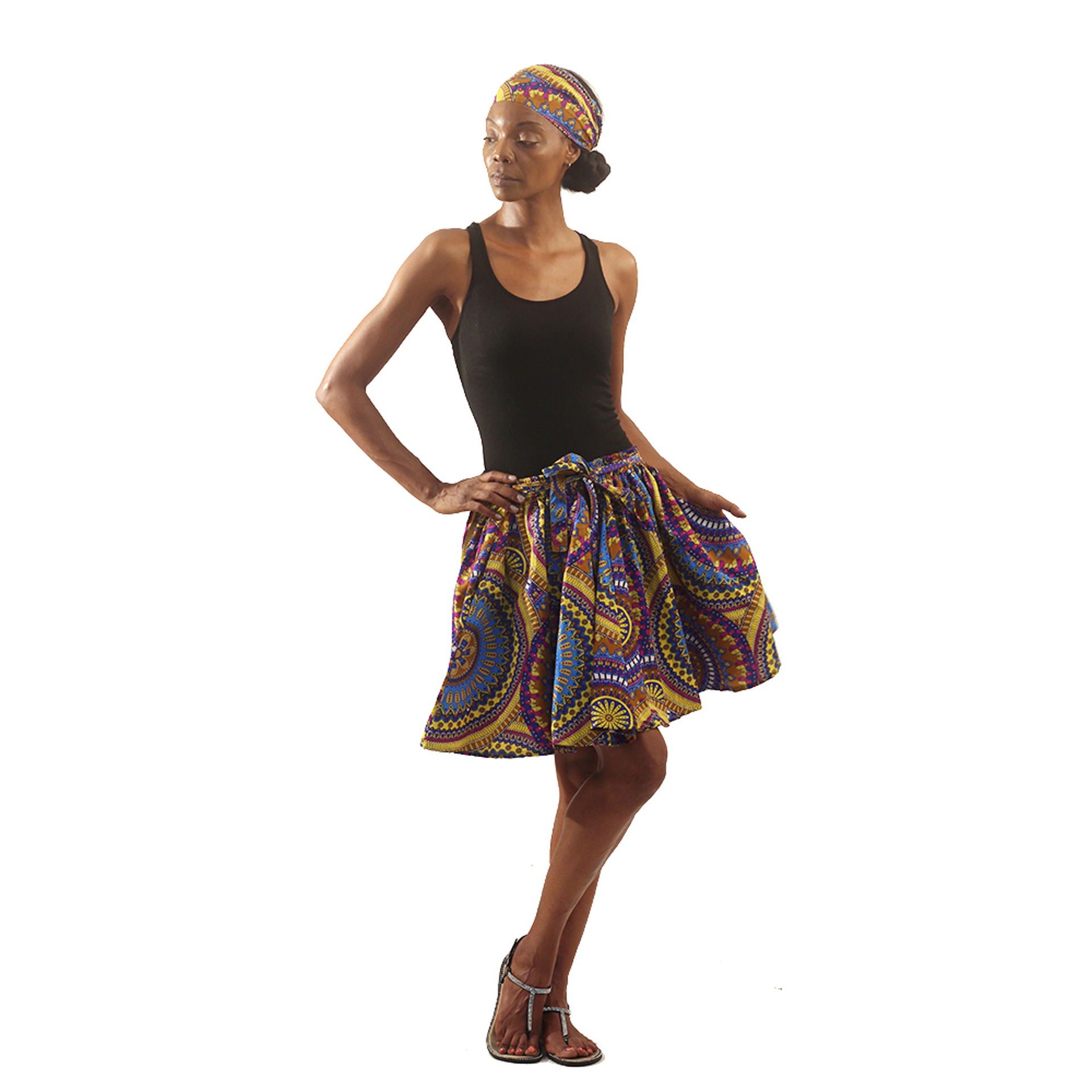 Picture of Floral Mandala Mini Skirt: Yellow/Blue
