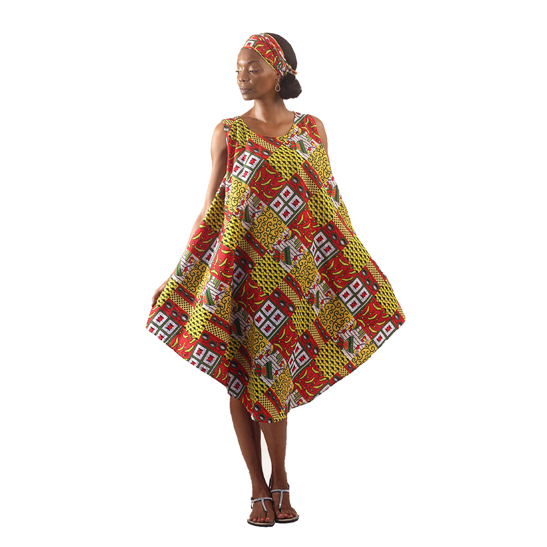 Picture of Talavera Patchwork Umbrella Dress: Yl/Rd