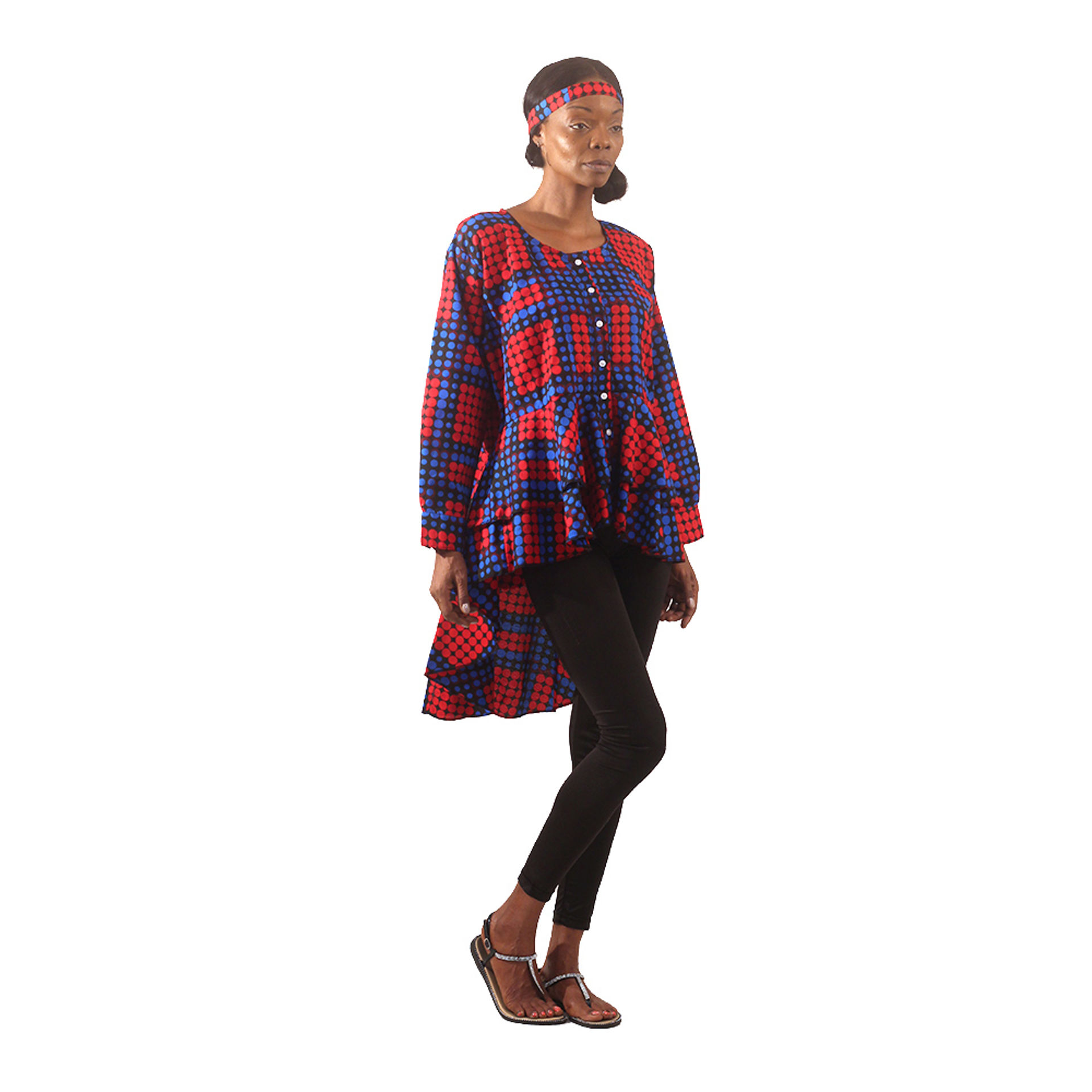 Picture of Dot Pattern Hi-Lo Shirt: Blue/Red