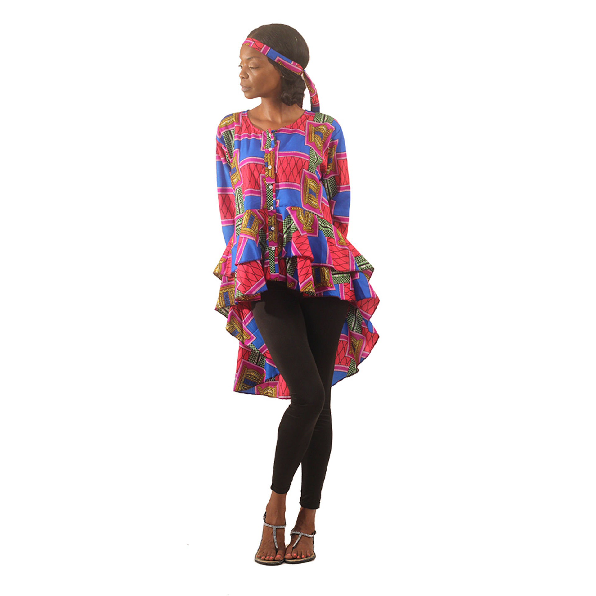 Picture of Ashanti Royalty Hi-Lo Shirt: Red/Blue