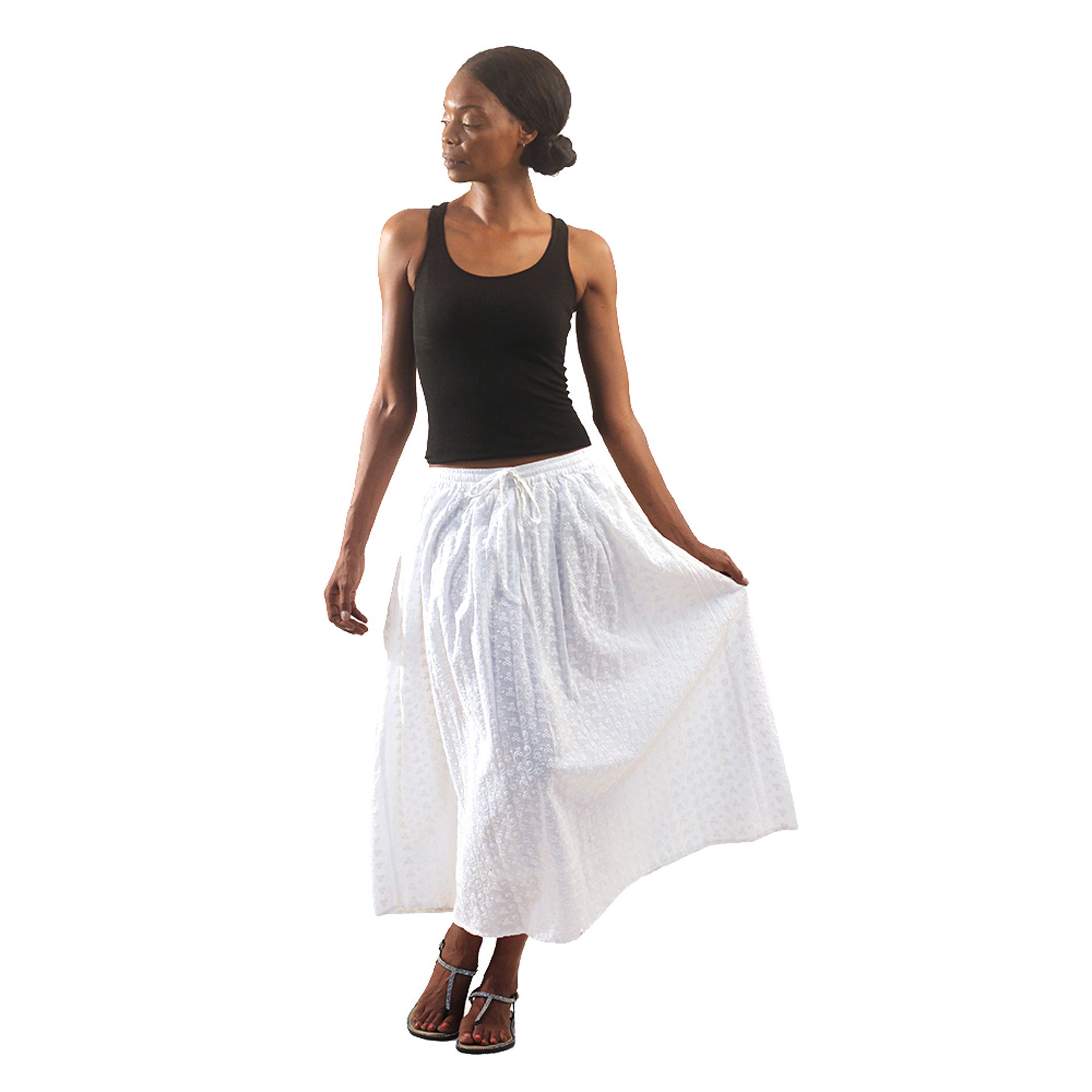 Picture of White Eyelet Long Skirt