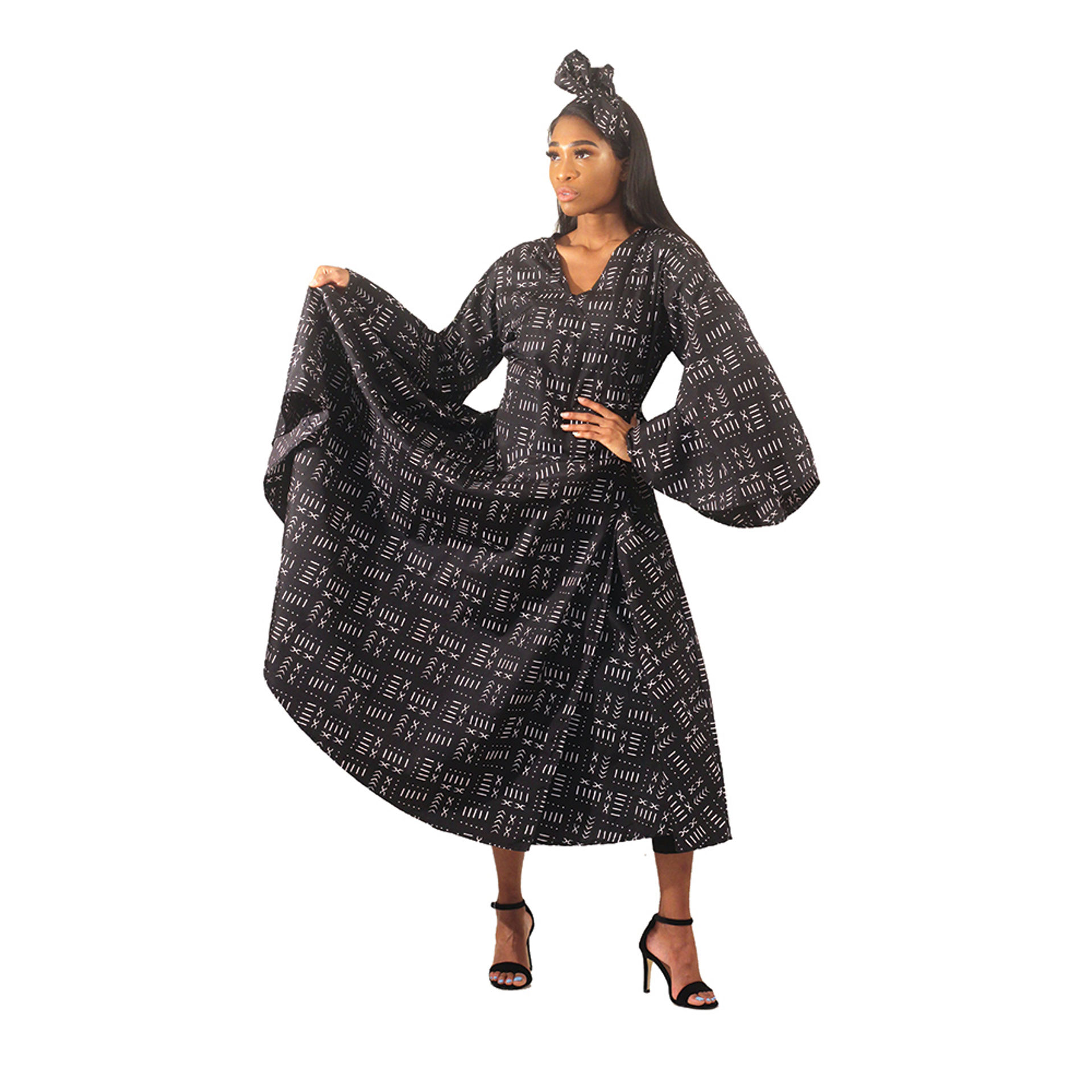 Picture of Black Mud Print Wrap Dress