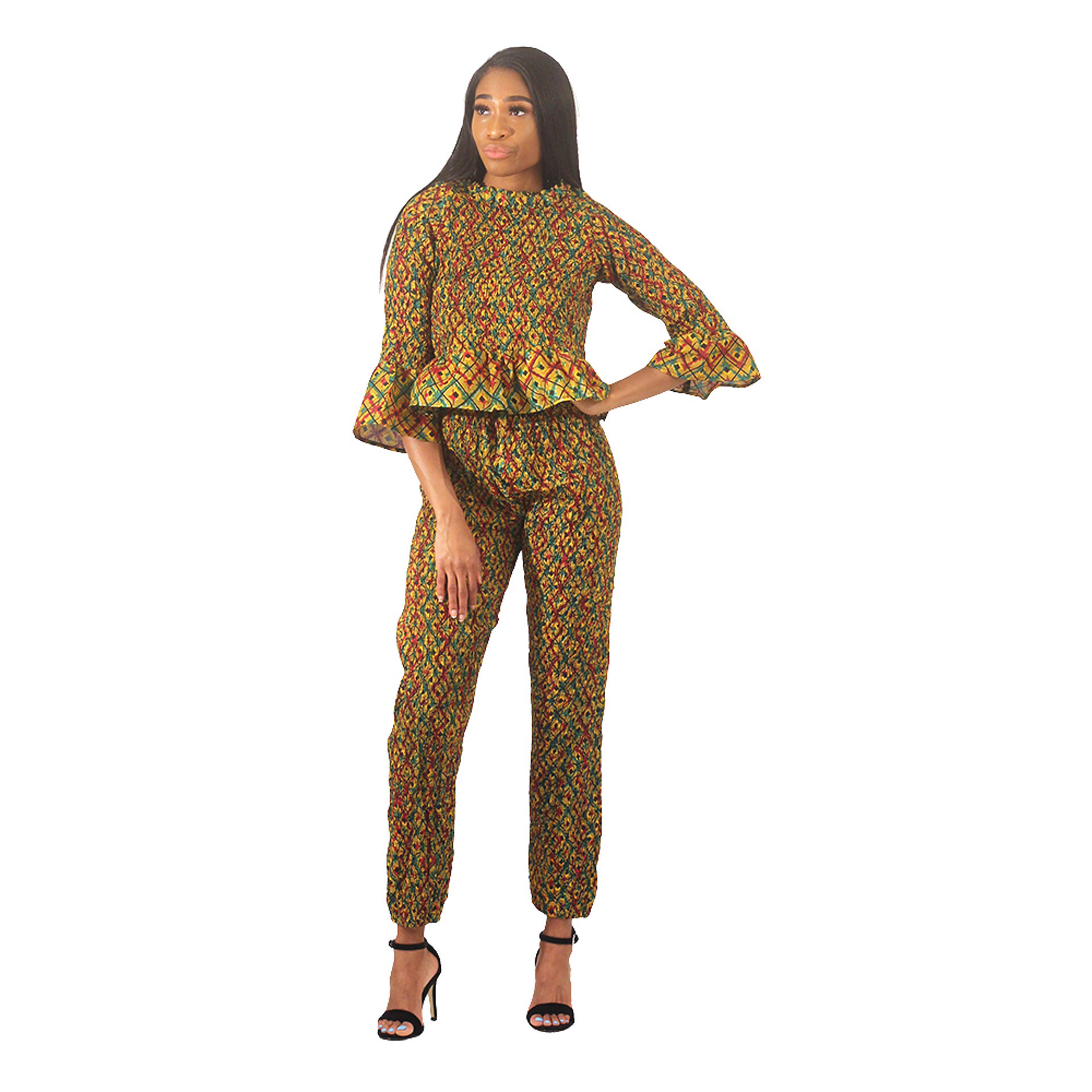 Picture of African Print Pant Set: Yellow/Green/Red
