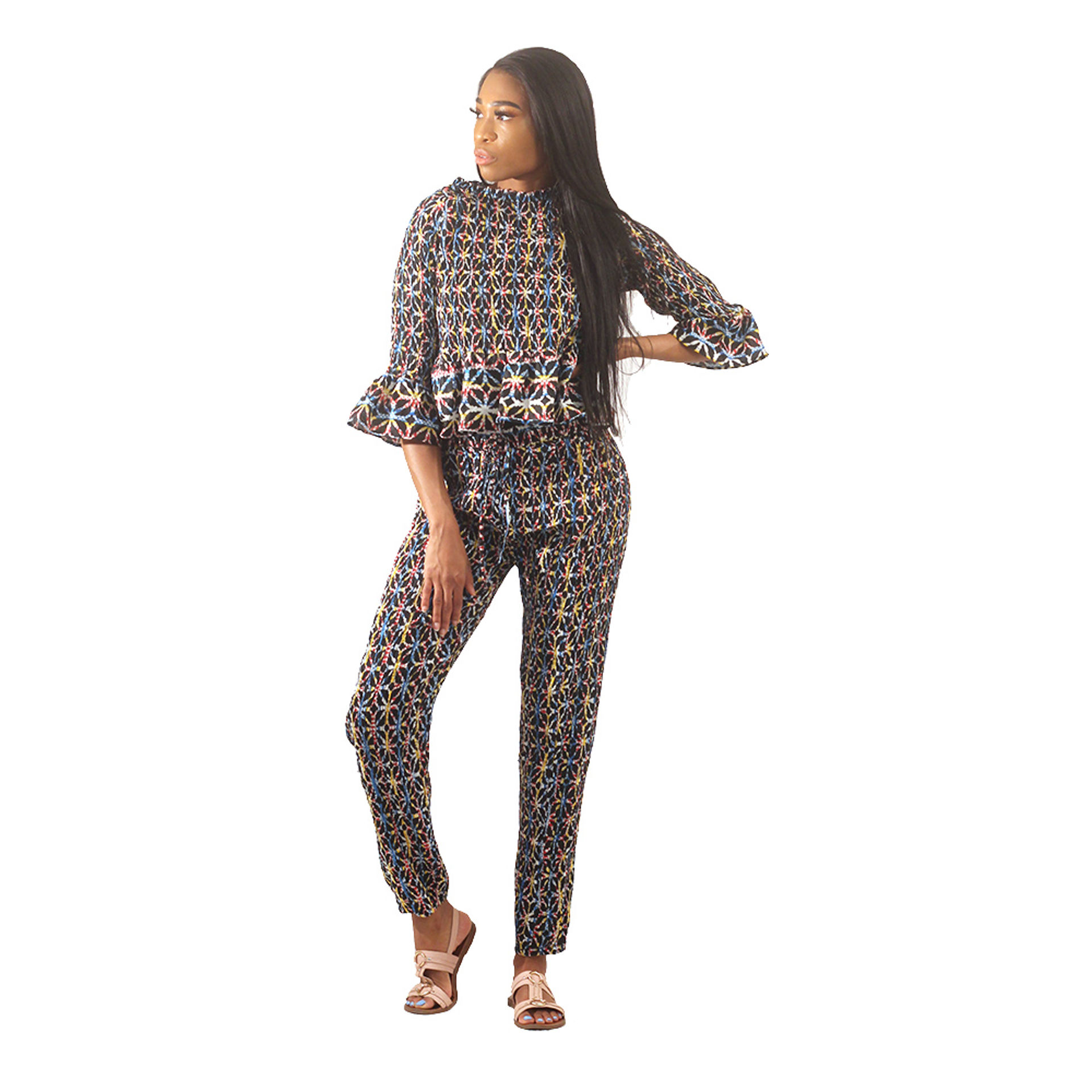 Picture of African Print Pant Set Black/Blue/Yellow