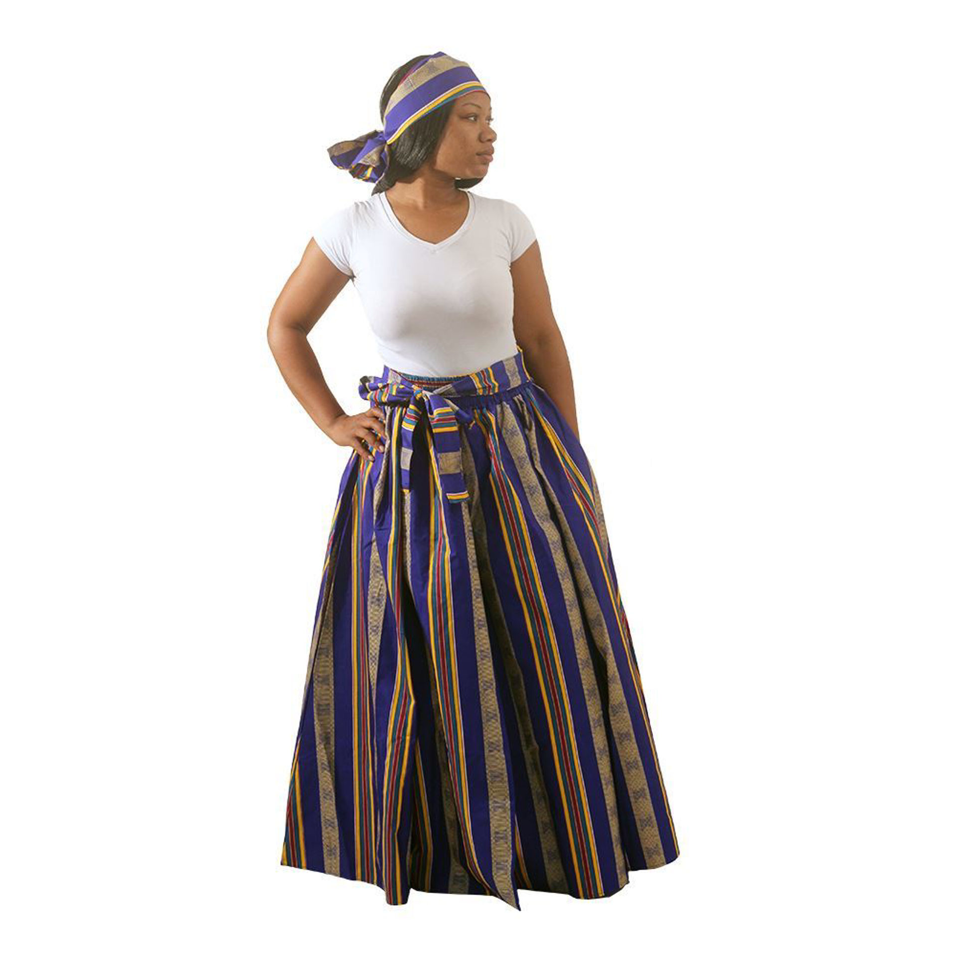 Picture of Kente Long Skirt #4 BLUE