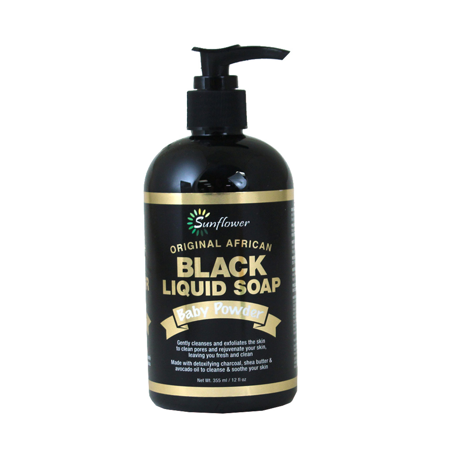 Picture of Liquid Black Soap: Baby Powder - 12 oz.