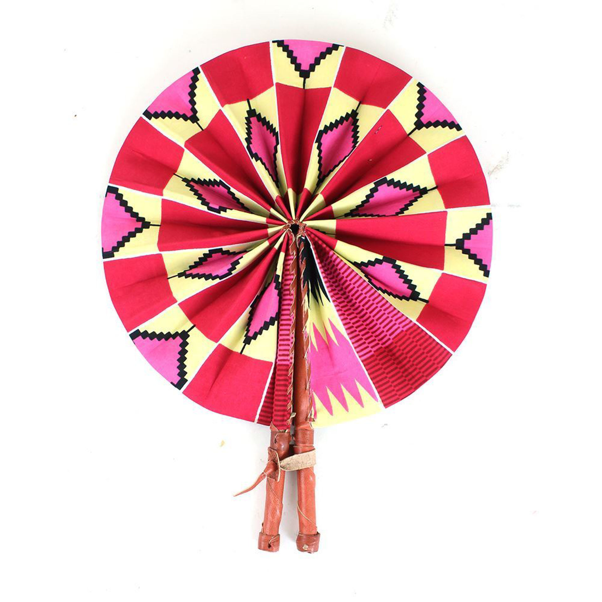 Picture of Pink/Natural Kente Folding Fan