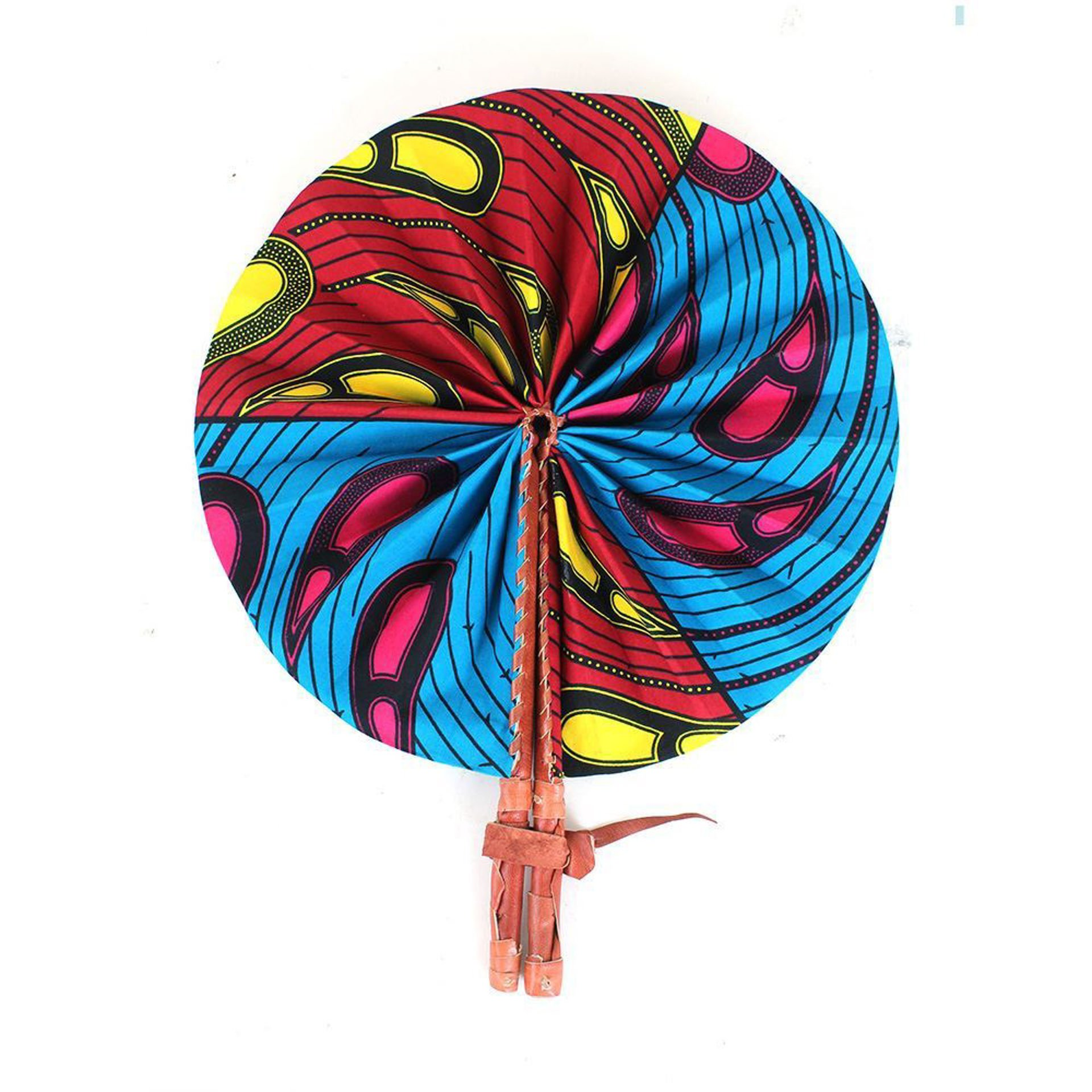 Picture of Red/Blue Peacock Print Folding Fan
