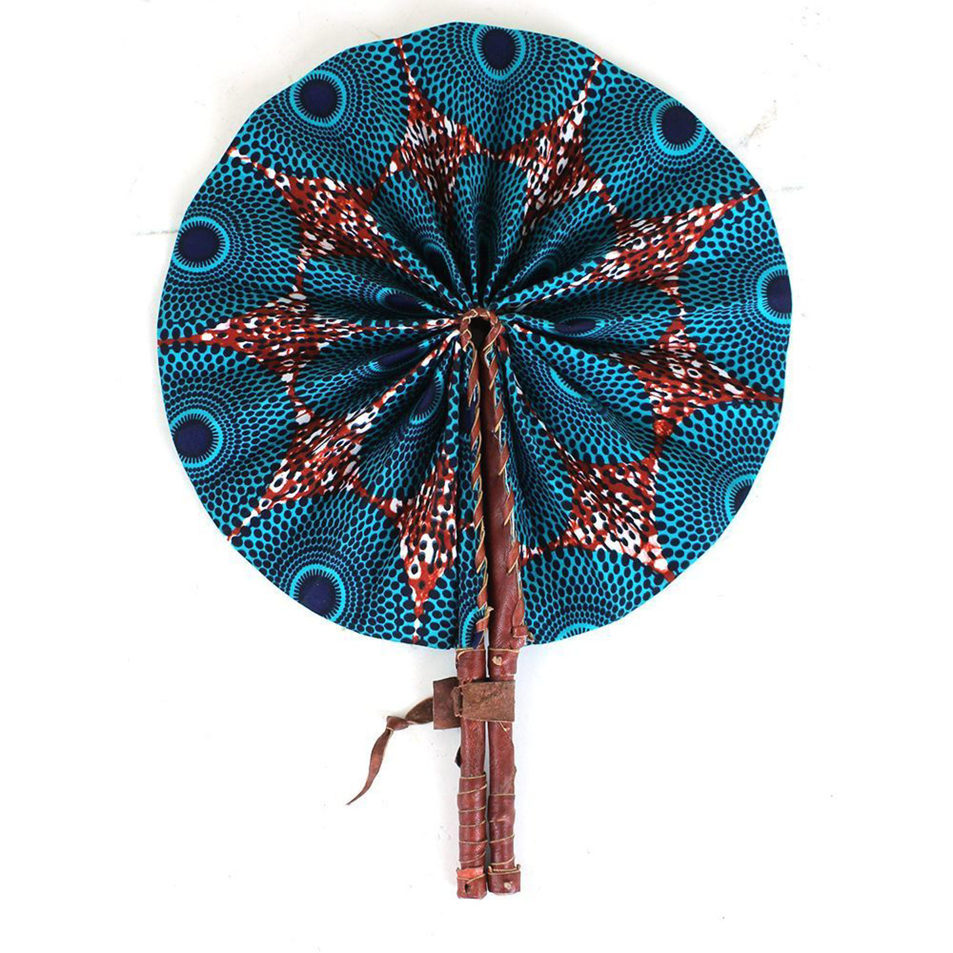 Picture of Turquoise Circle Print Folding Fan