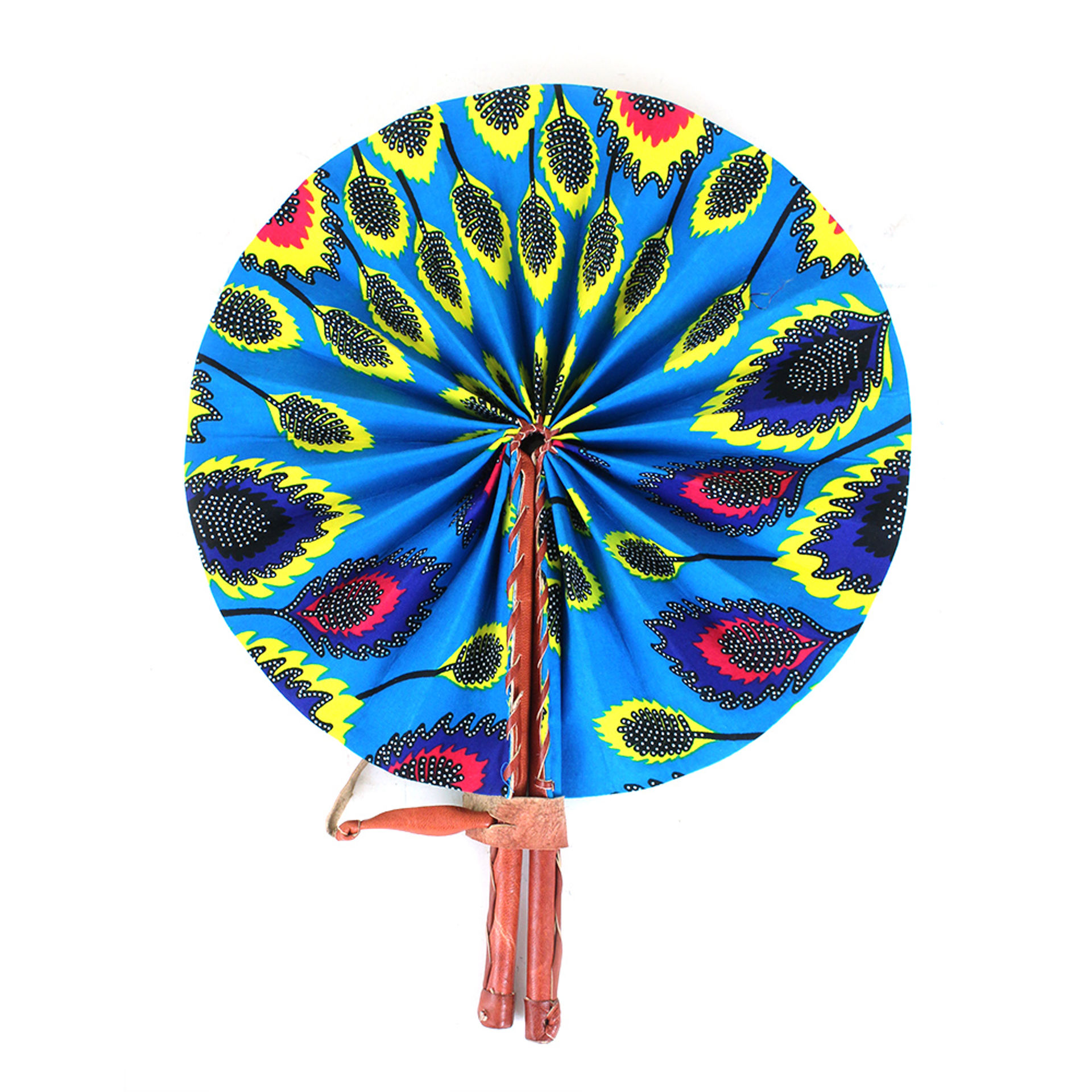Picture of Turquoise Leaf Print Folding Fan