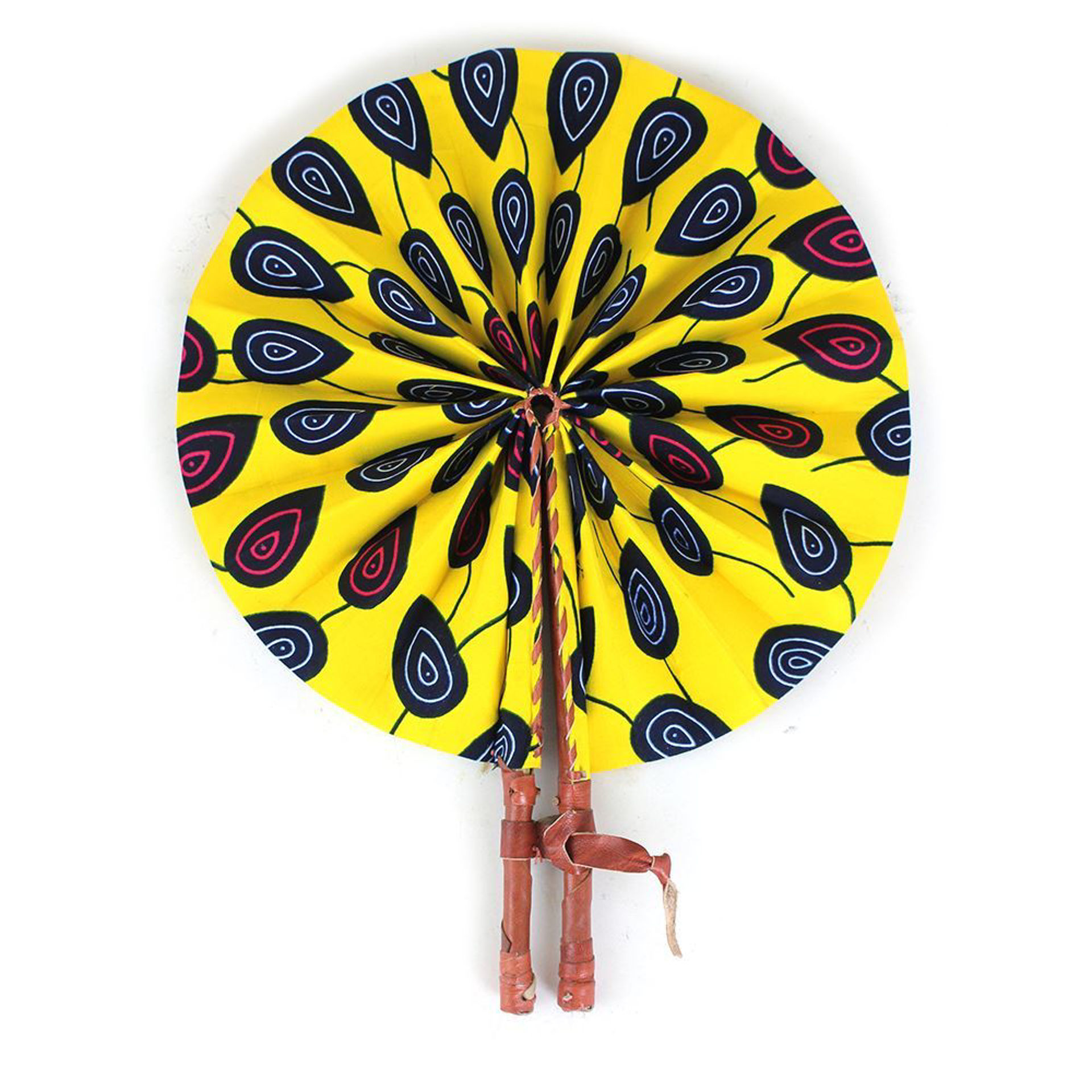 Picture of Yellow Peacock Print Folding Fan