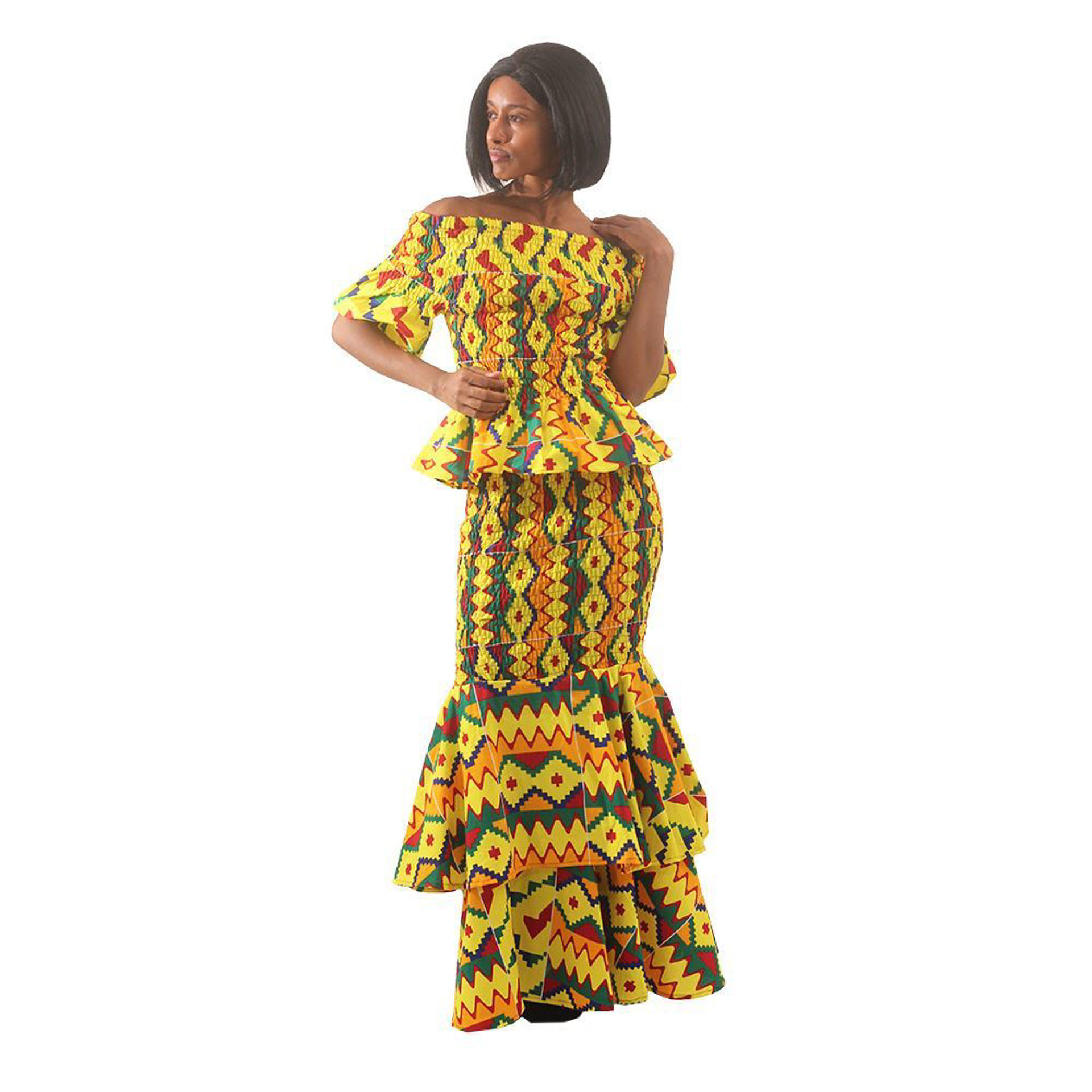 Picture of Yellow Kente 2-Piece Elastic Skirt Set