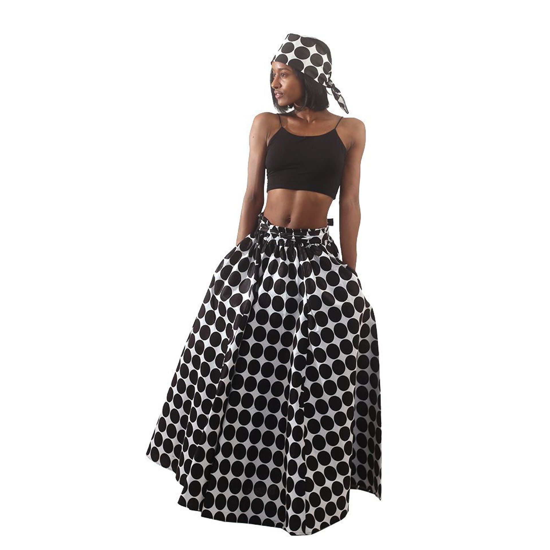 Picture of White & Black - Polka Dot Maxi Skirt