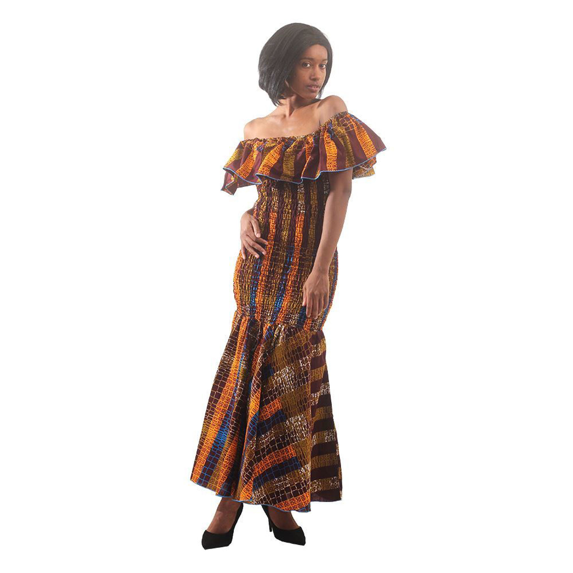 Picture of African-Made Golden-Brown Elastic Dress