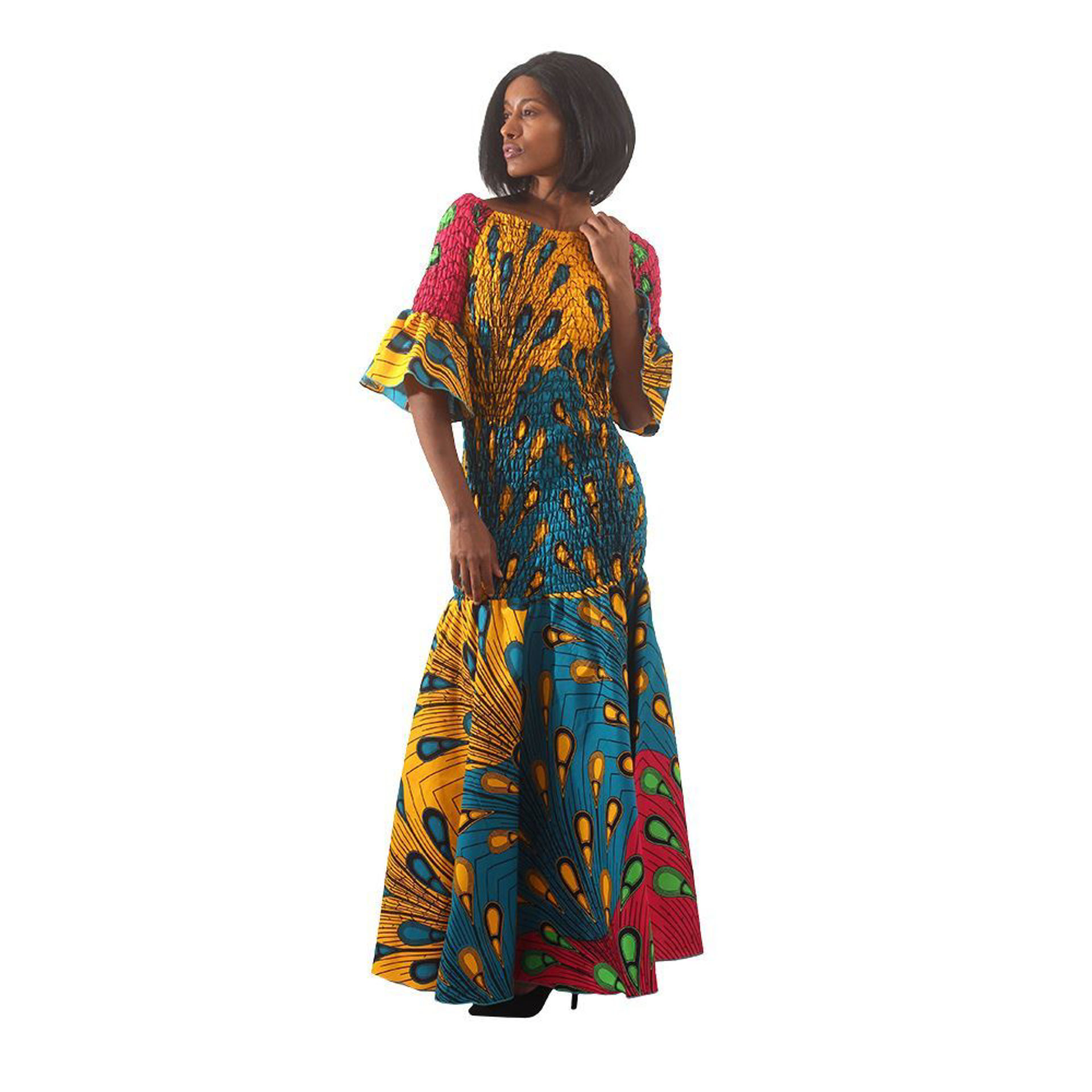 Picture of African-Made Multi-Color Peacock Gown