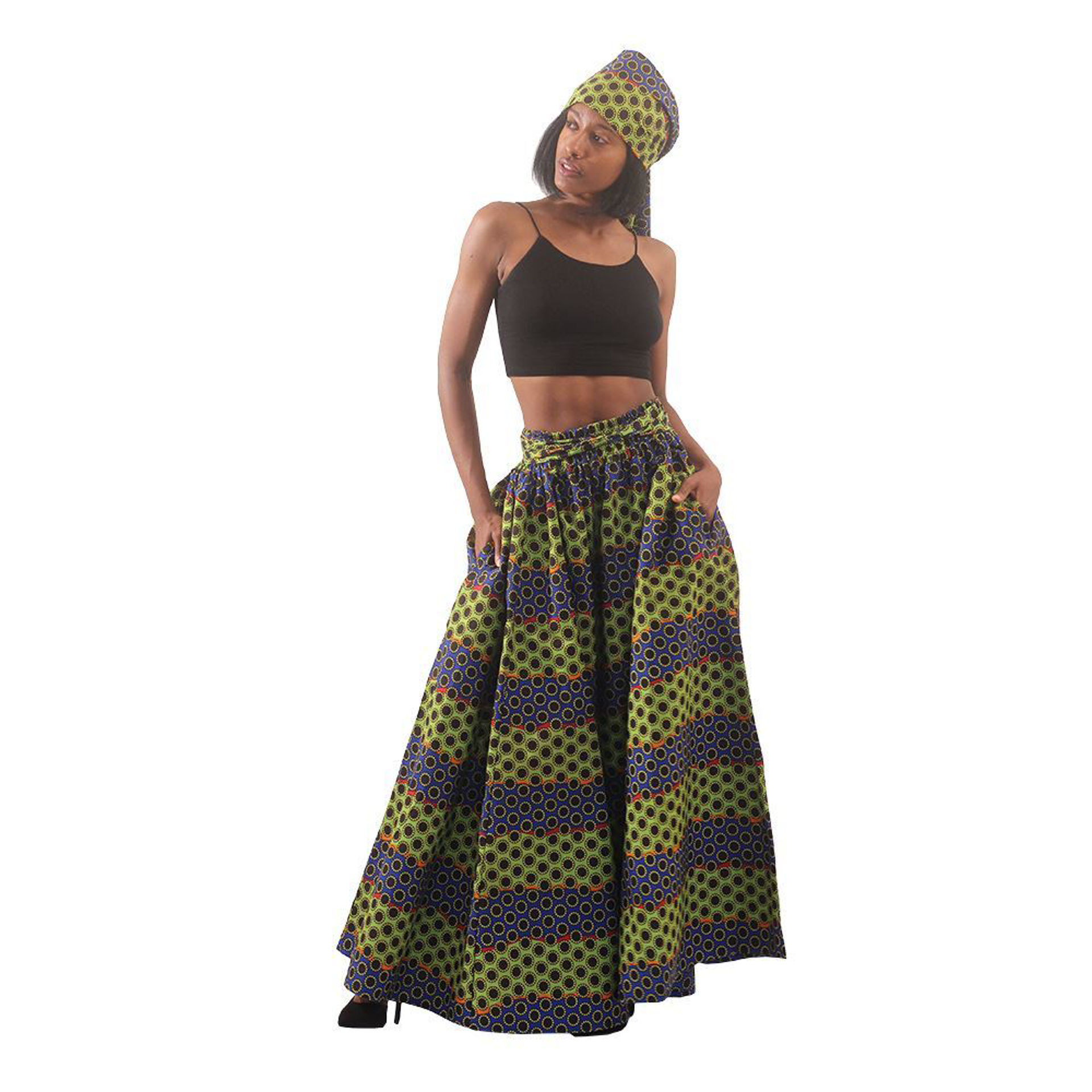 Picture of Multi-Color Dot Print Long Skirt