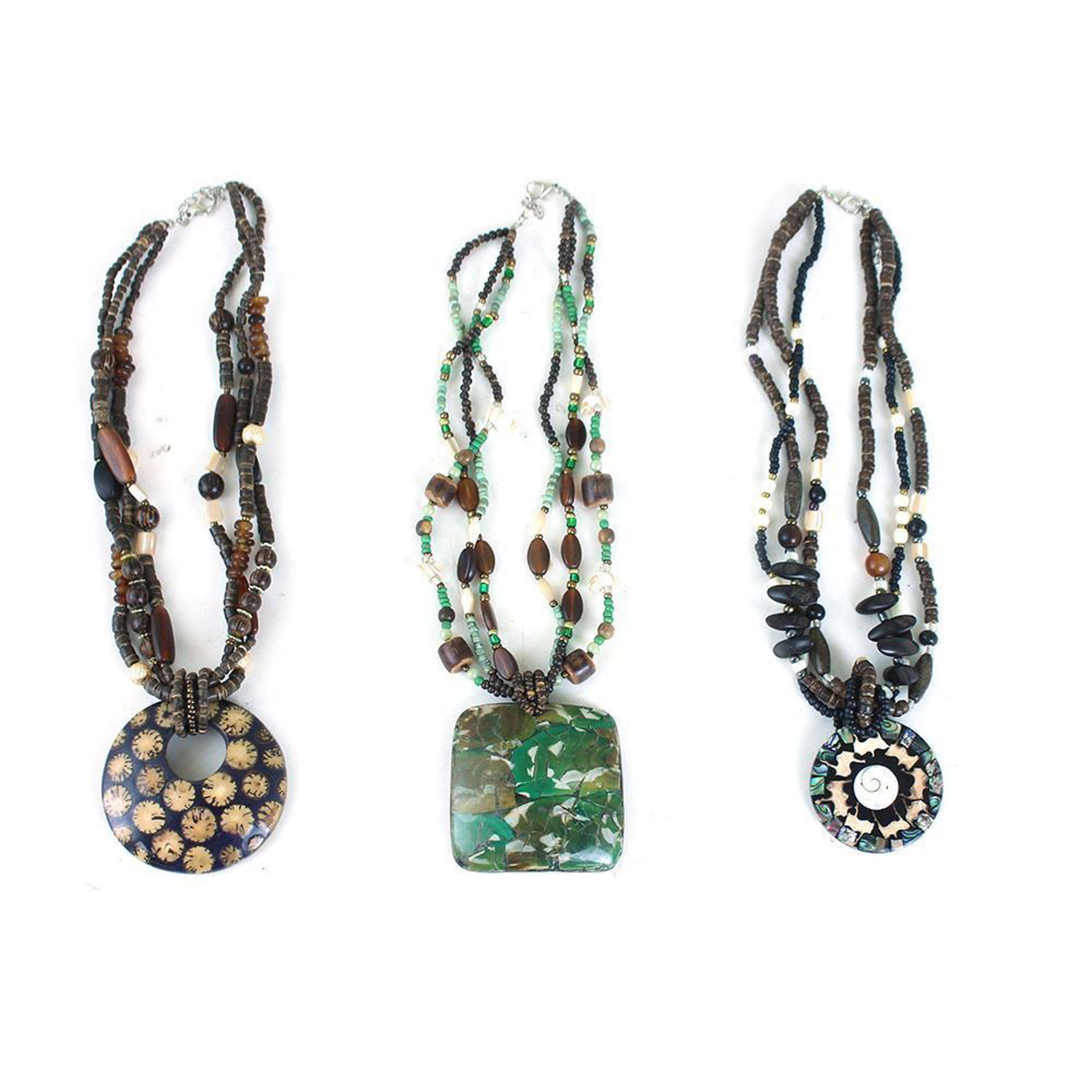 Picture of Set Of 3 Beaded Pendant Necklaces