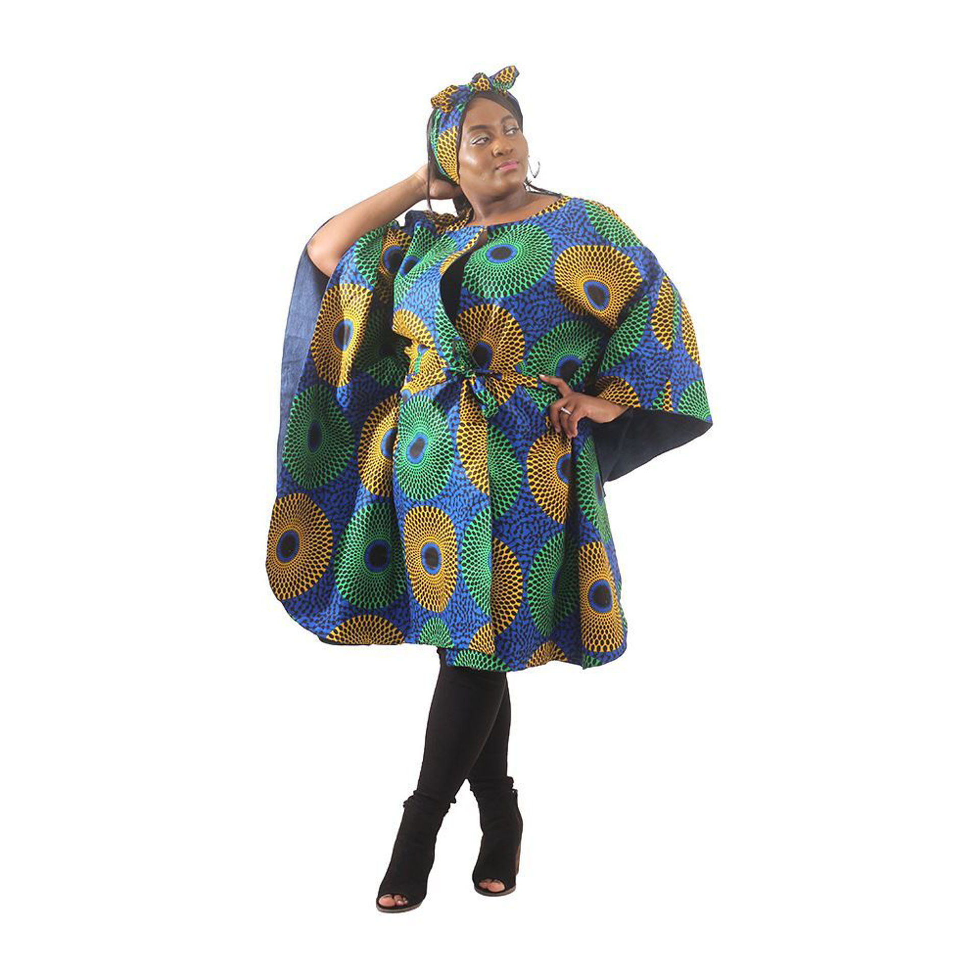 Picture of Denim Circle Print Poncho