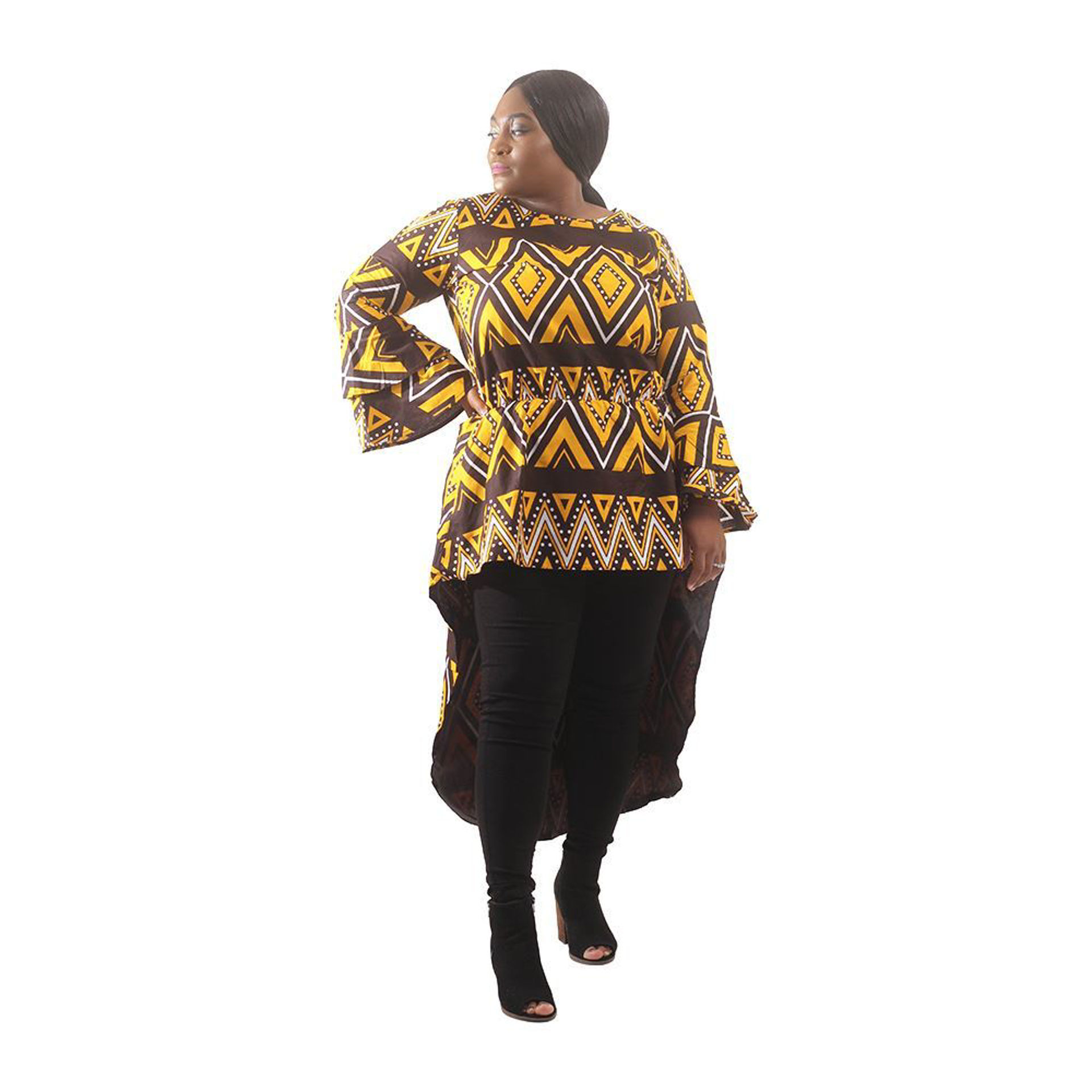 Picture of African Mud Print Hi-Lo Top