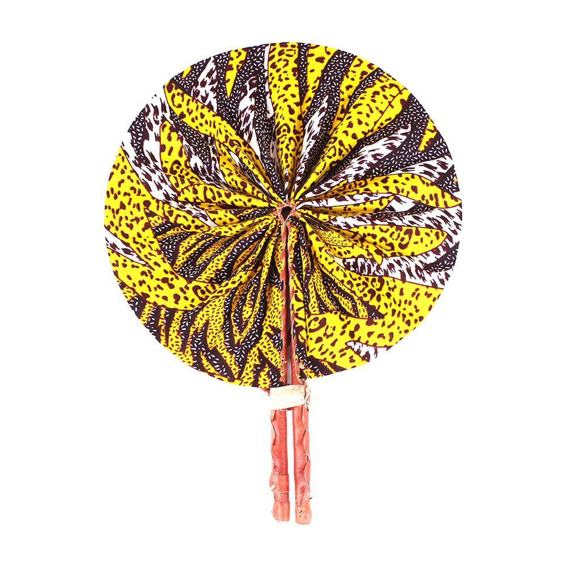 Picture of Yellow/Burgundy Sun Print Folding Fan
