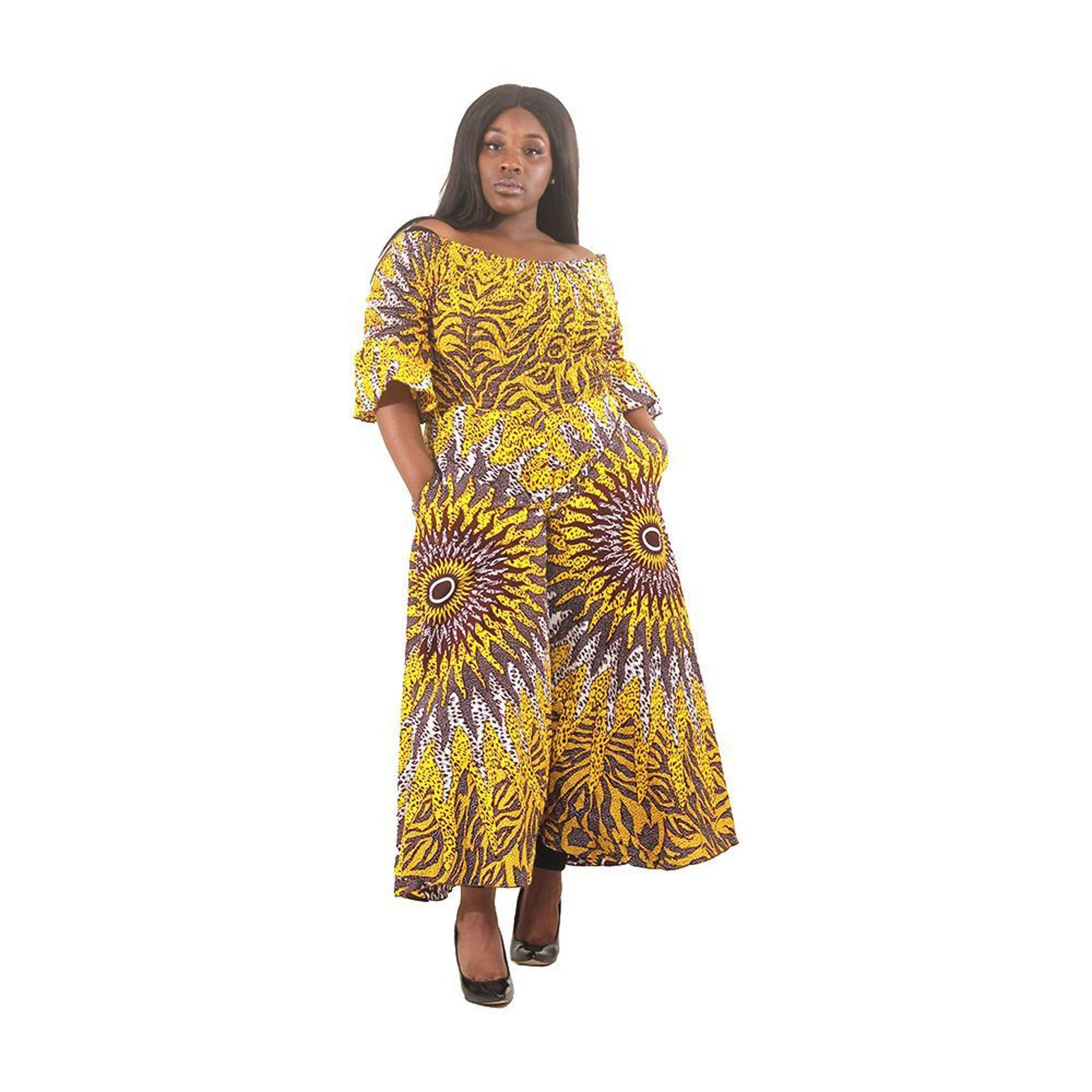 Picture of Yellow Sun Off-Shoulder Jumpsuit