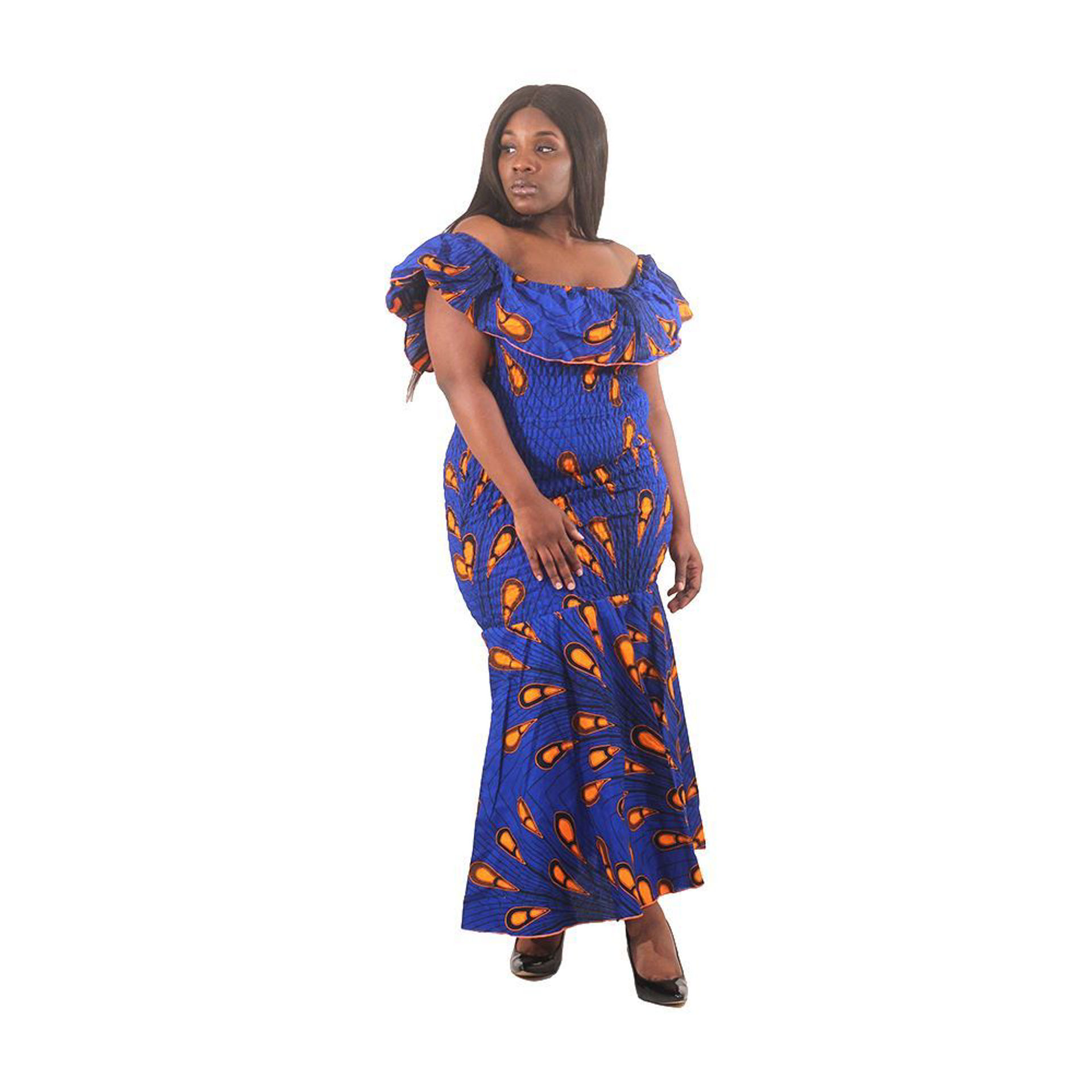 Picture of African-Made Blue Peacock Elastic Dress