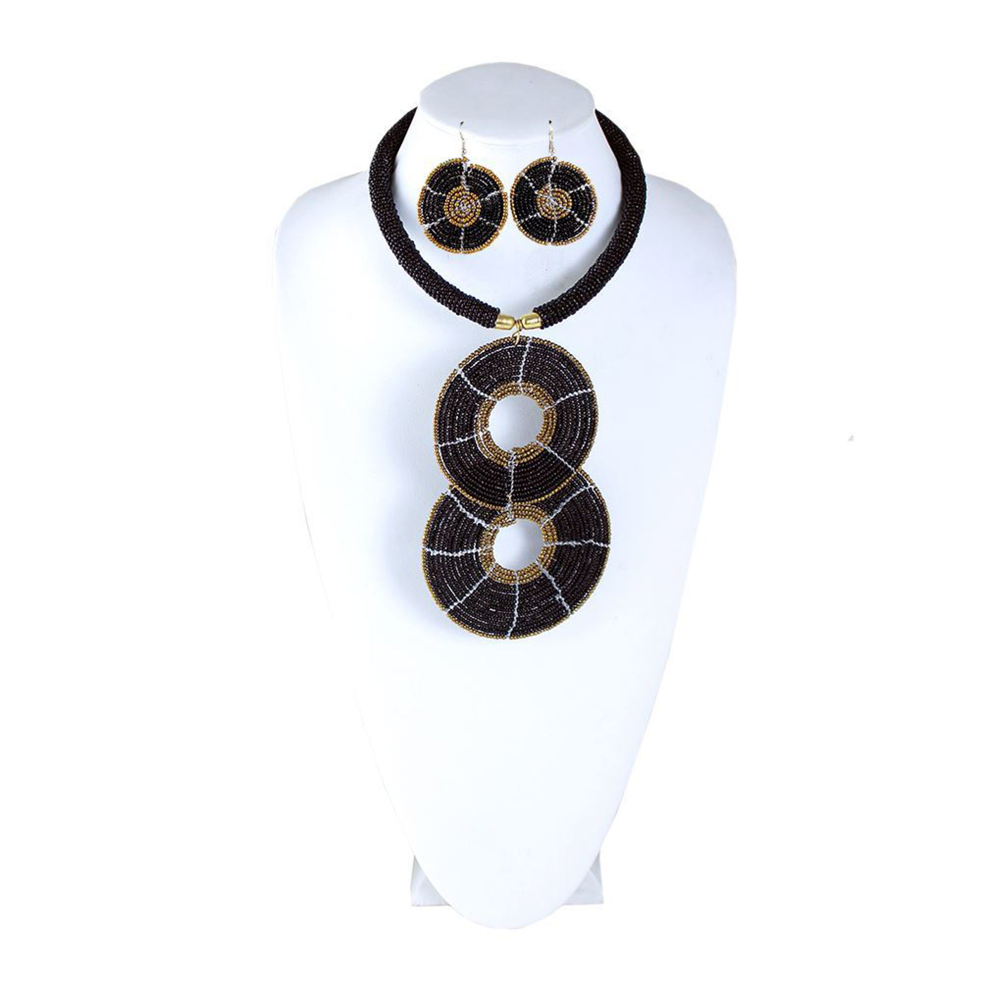 Picture of Black & Gold Maasai Beaded Choker Set