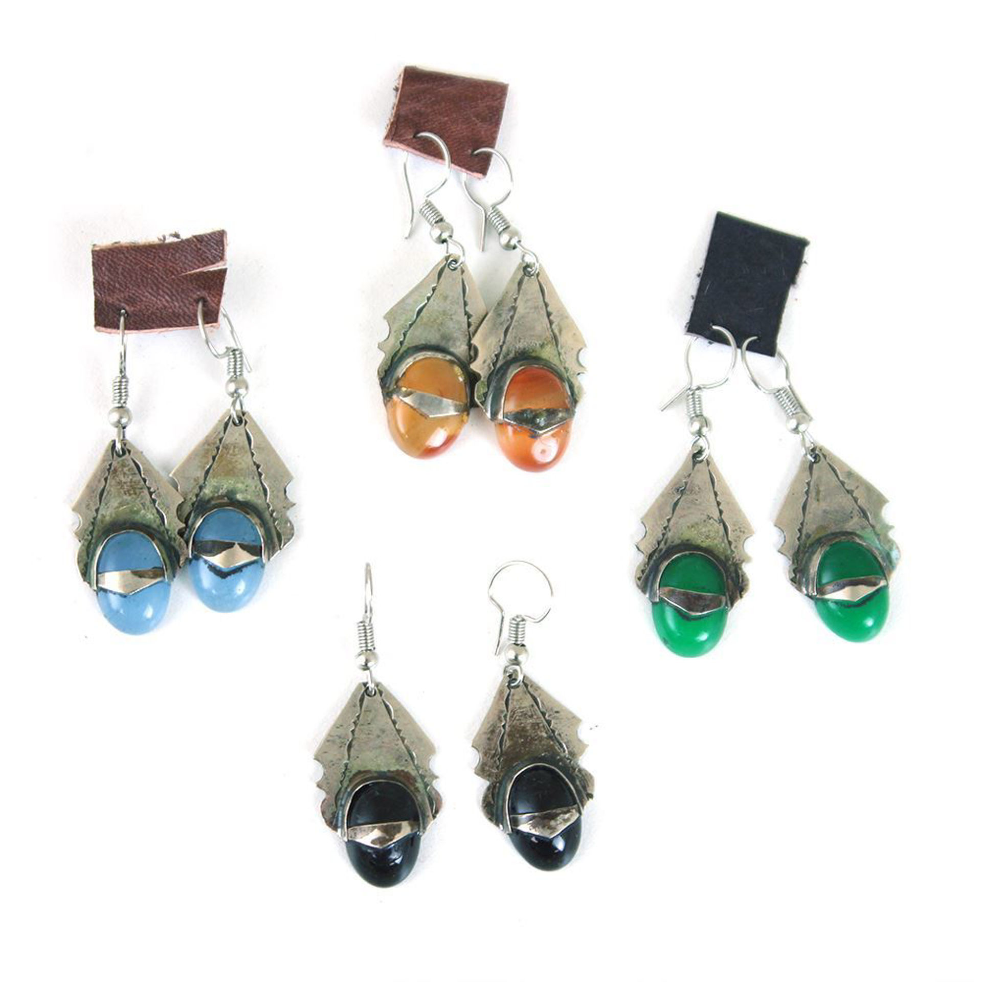 Picture of Rustic Silver Gem Earrings: 4 Pairs
