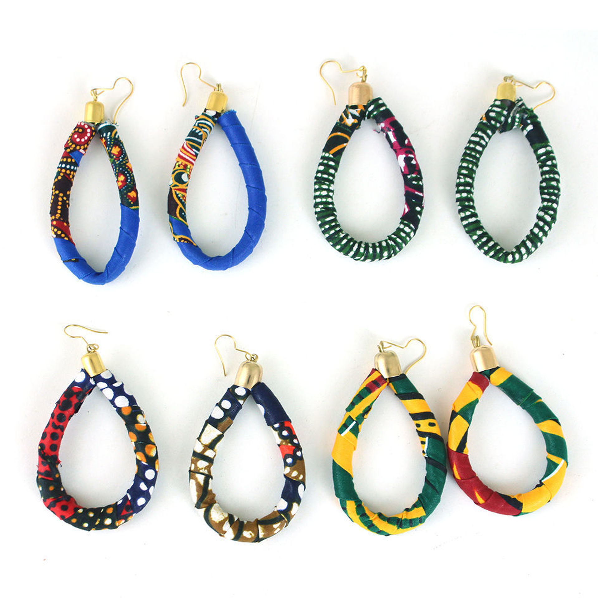 Picture of Set Of 4 Kitenge Tear Drop Earring Pairs