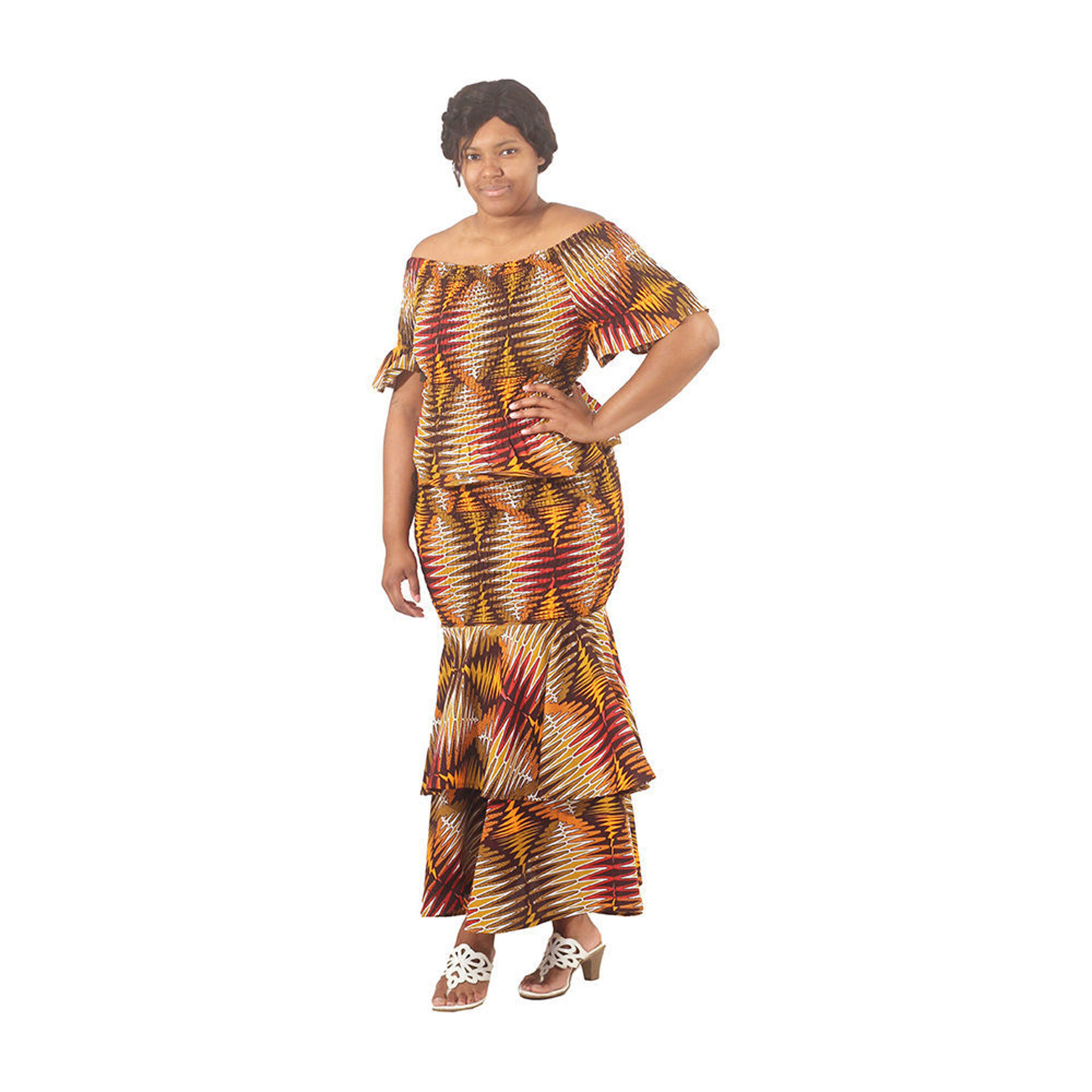Picture of Brown 2-Piece Elastic Skirt Set