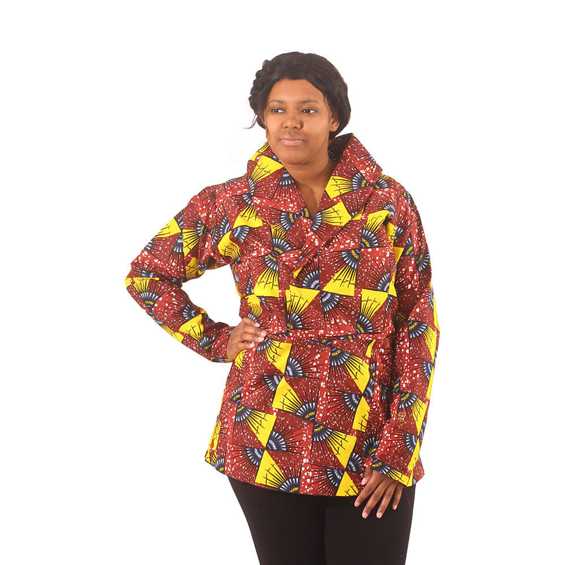 Picture of African Print Pull-Over Jacket: Brown