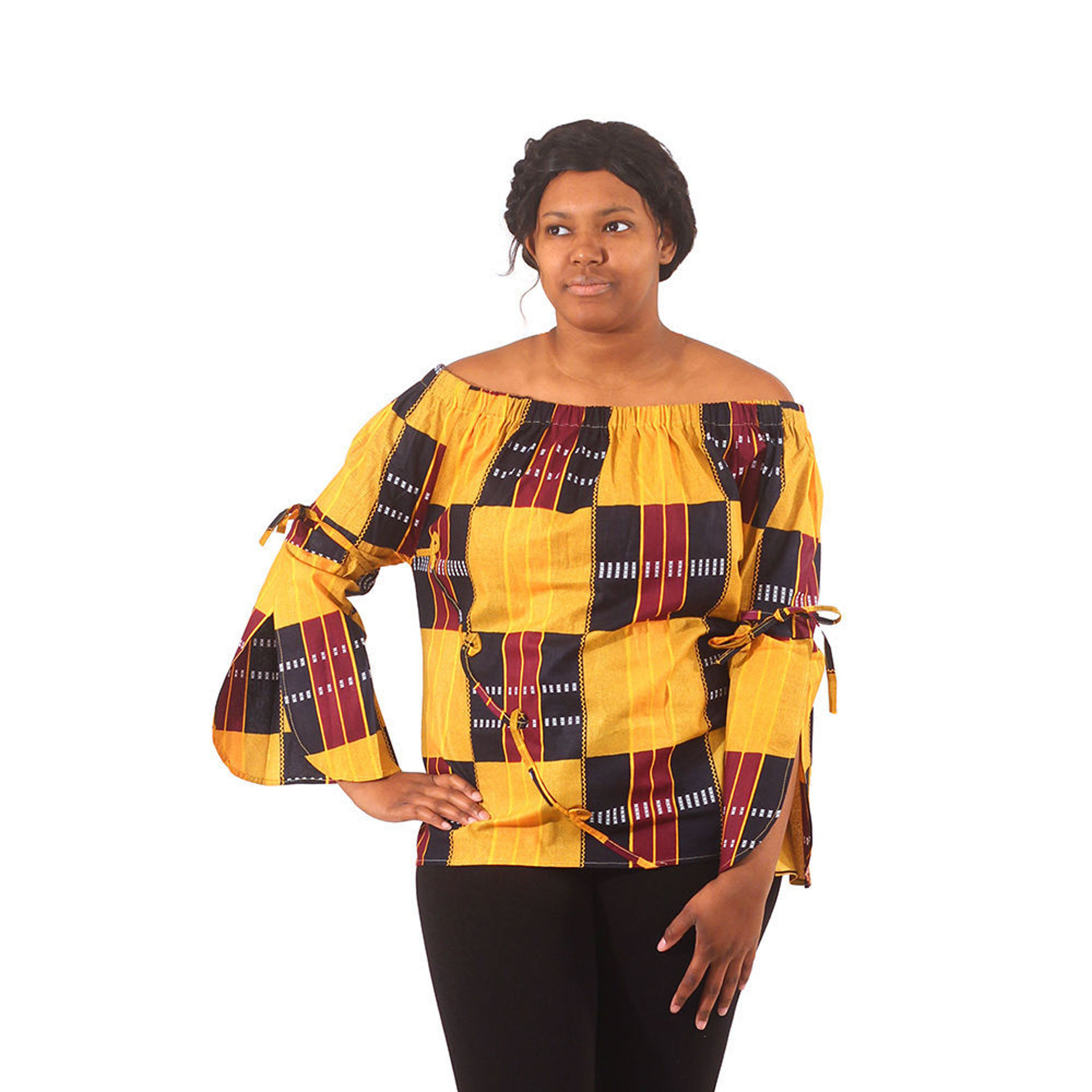Picture of Off-Shoulder Top - African Kente #3