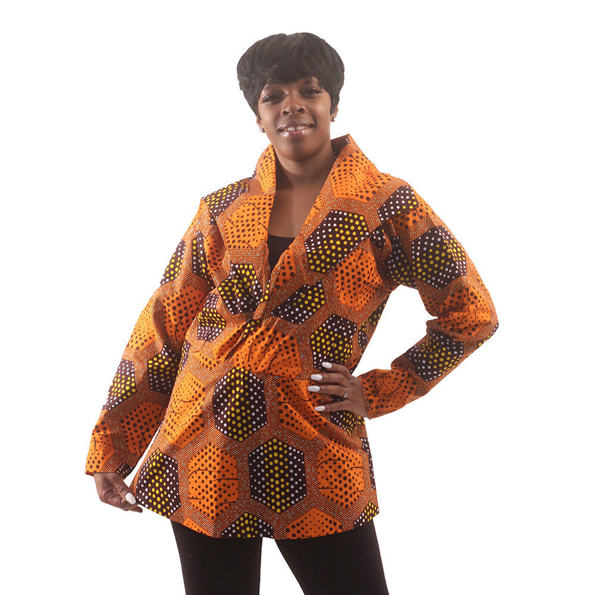 Picture of African Print Pull-Over Jacket: Orange