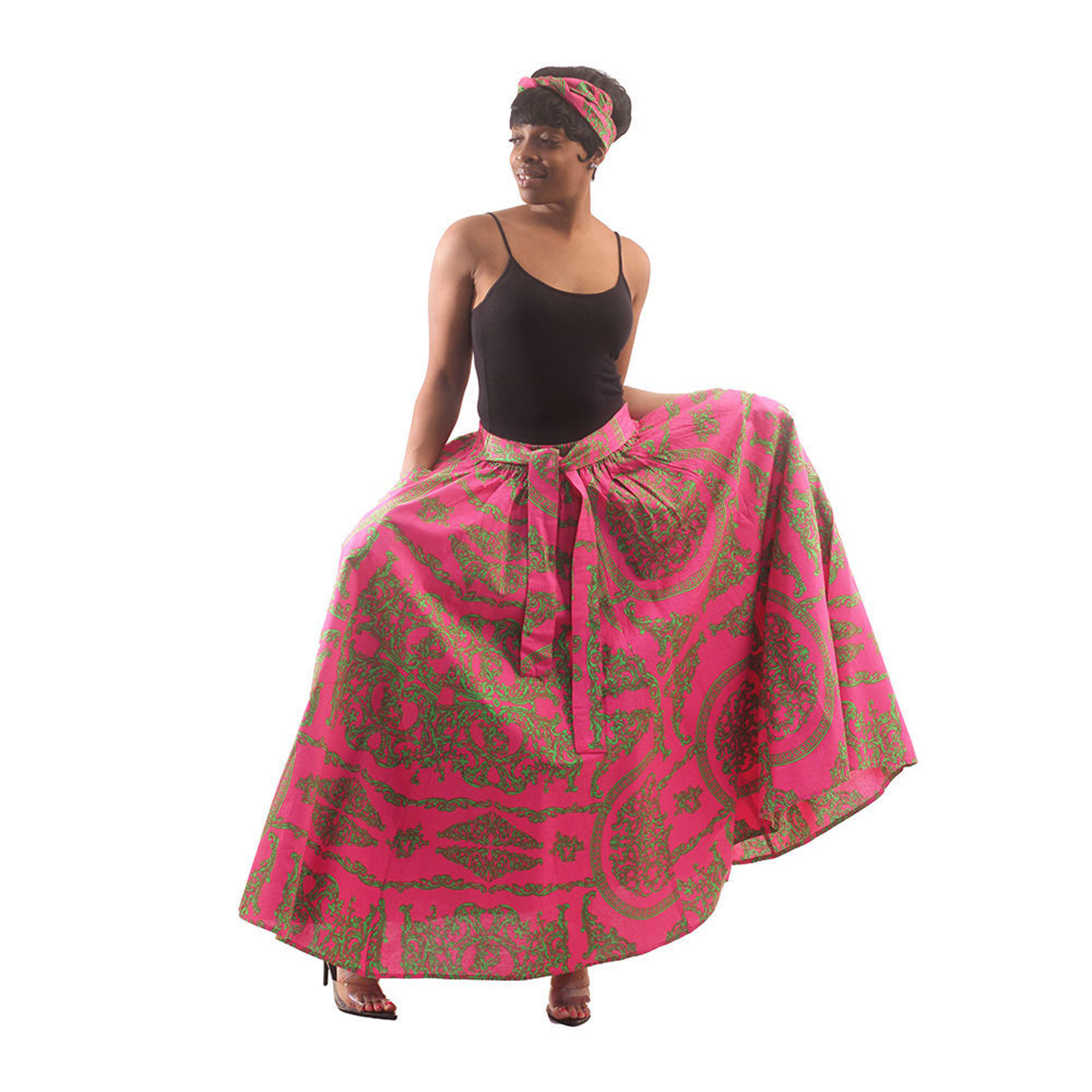 Picture of Royalty Print Maxi Skirt: Pink/Green